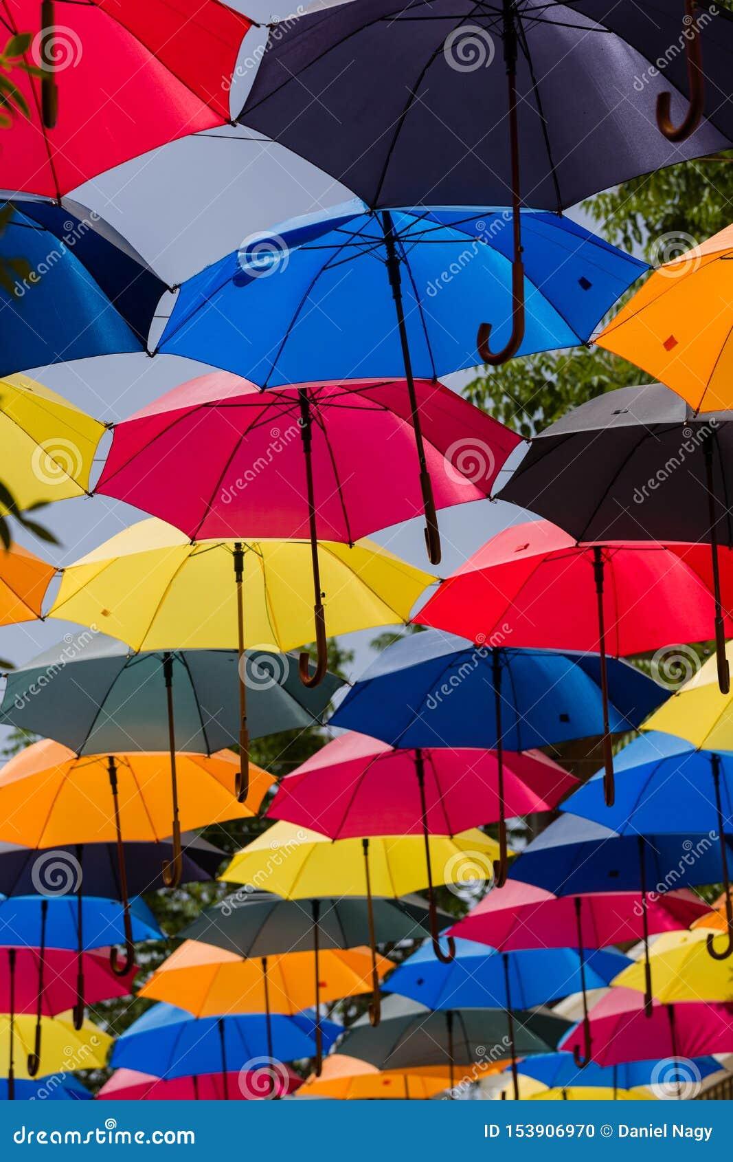Красочные парасоли совместно, над улицей, дают тень солнечного света
