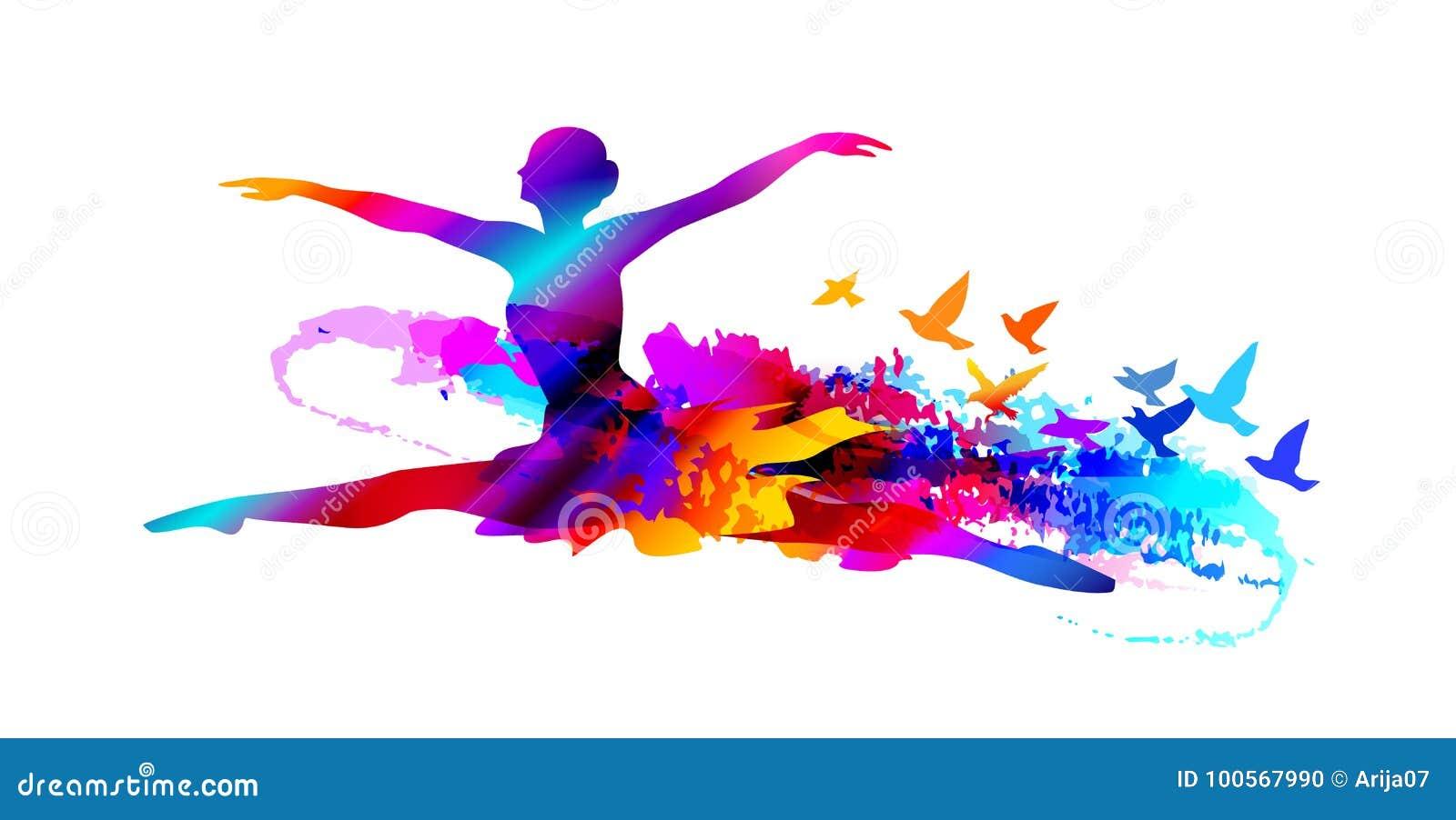 Красочный артист балета, цифровая картина с летящими птицами