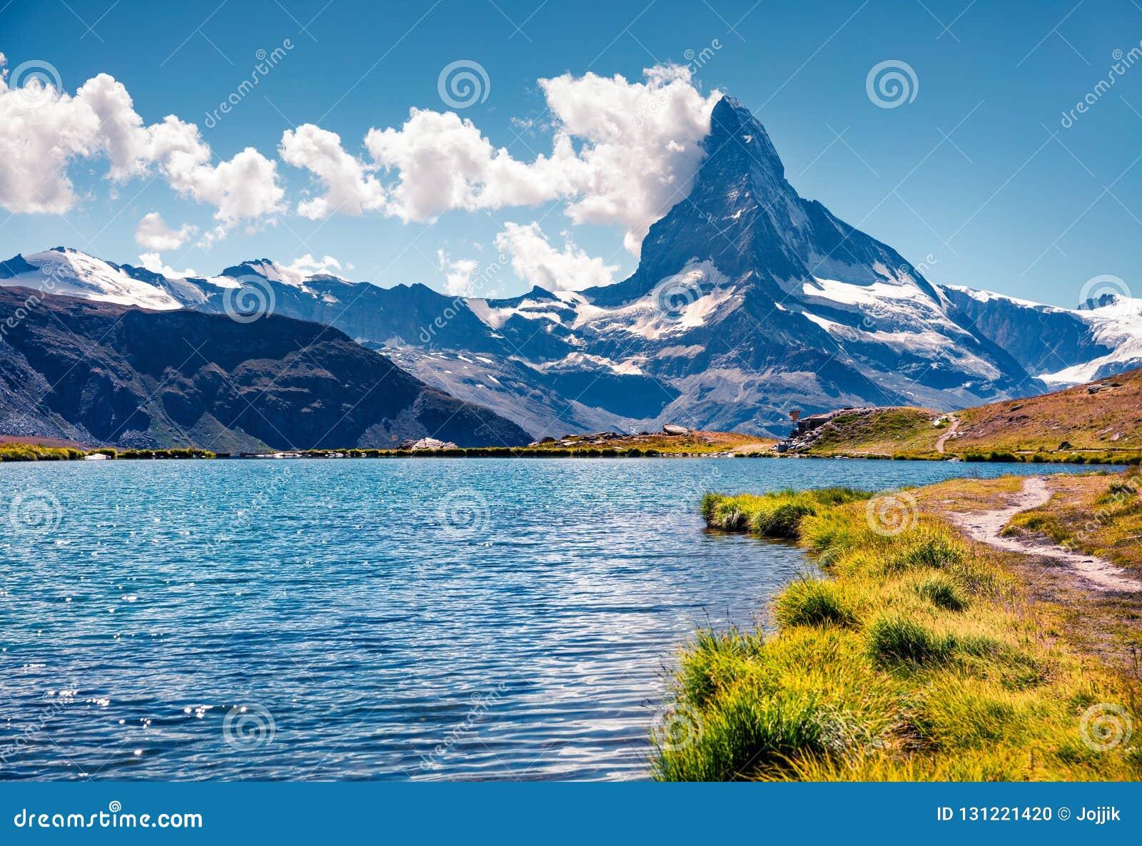 Красочный взгляд лета озера Stellisee
