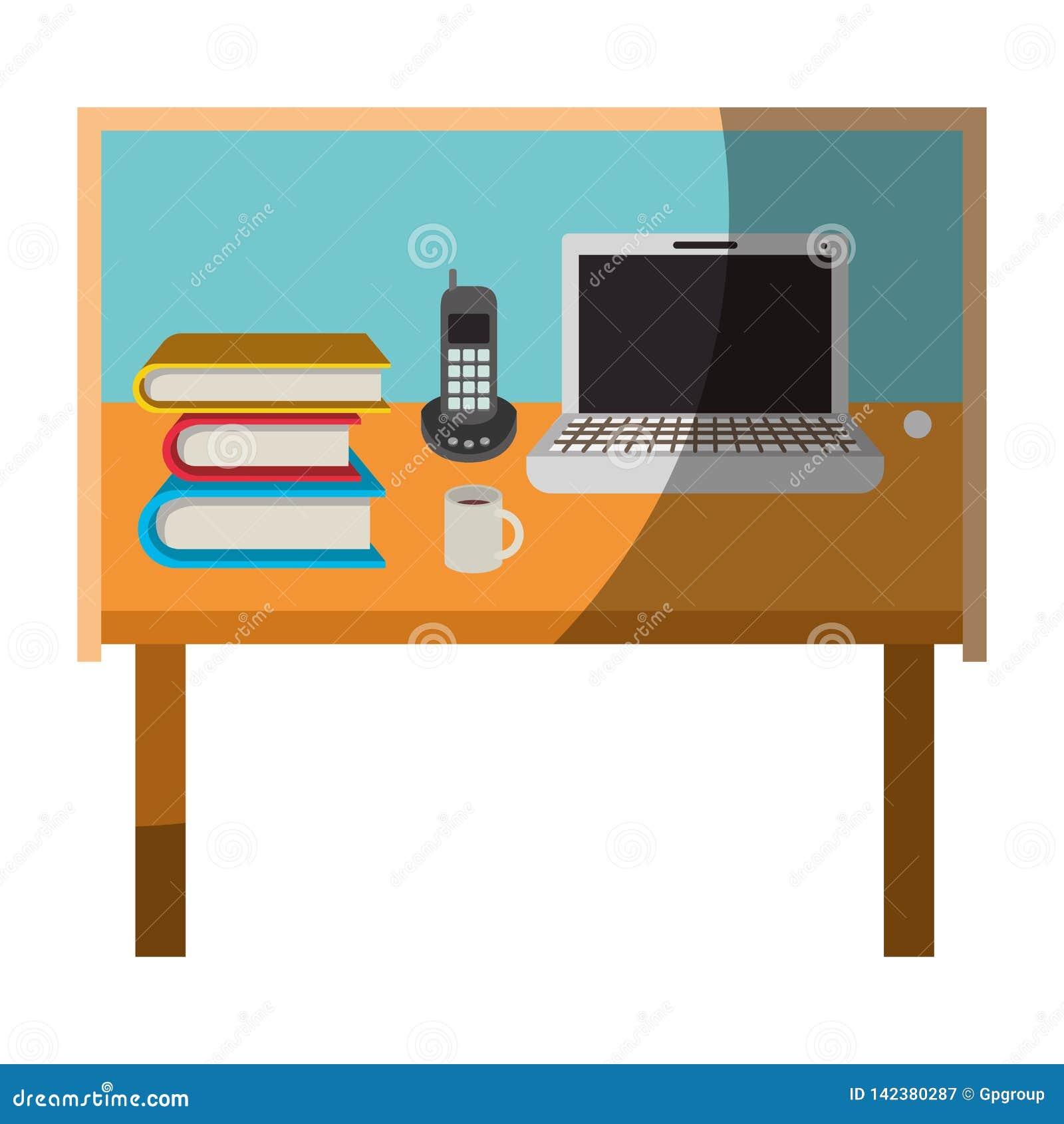 Красочный график домашнего офиса стола основной без тени контура и половины