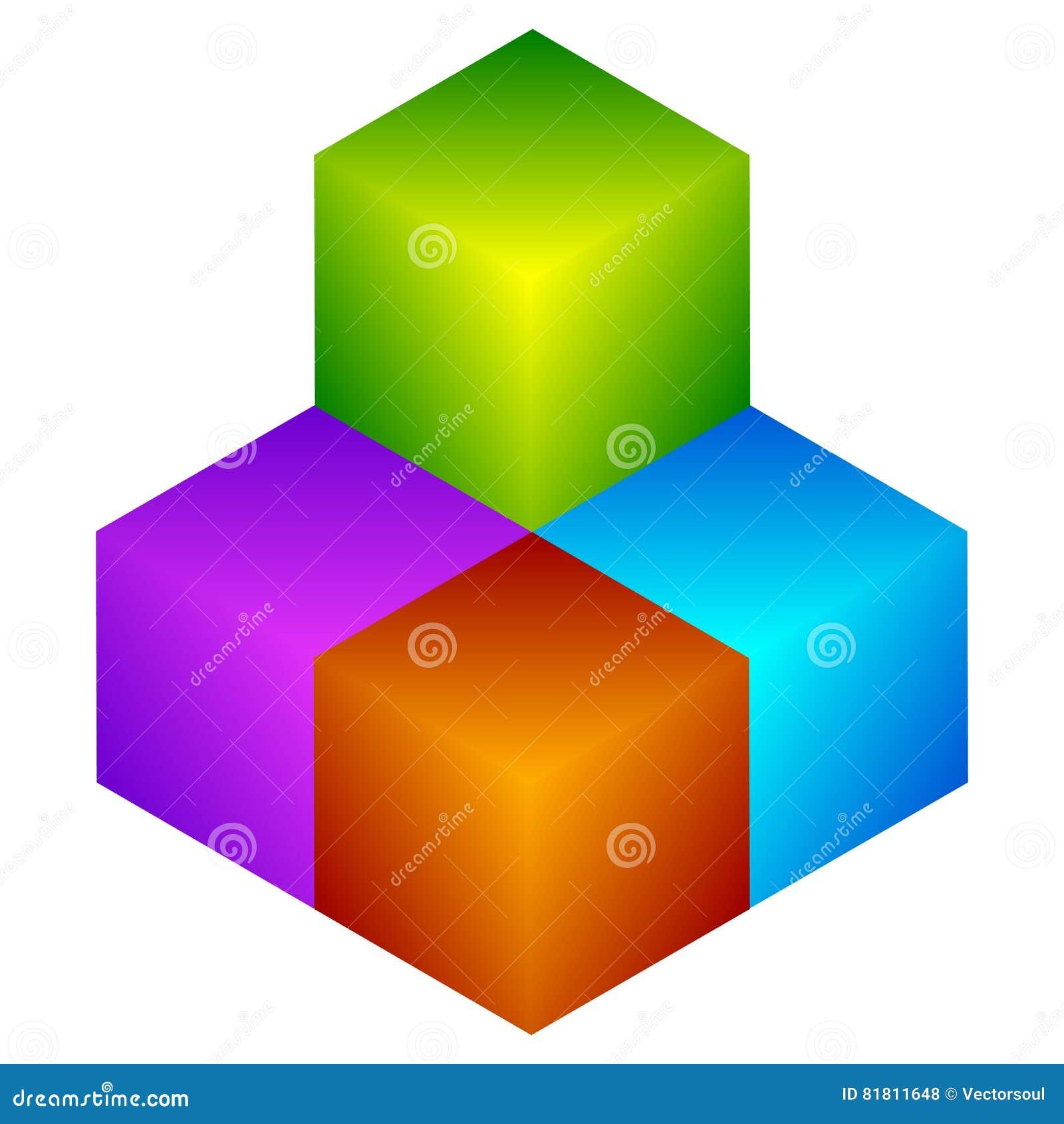 Красочный значок куба Современные, яркие родовой значок/штабелированный логотип w