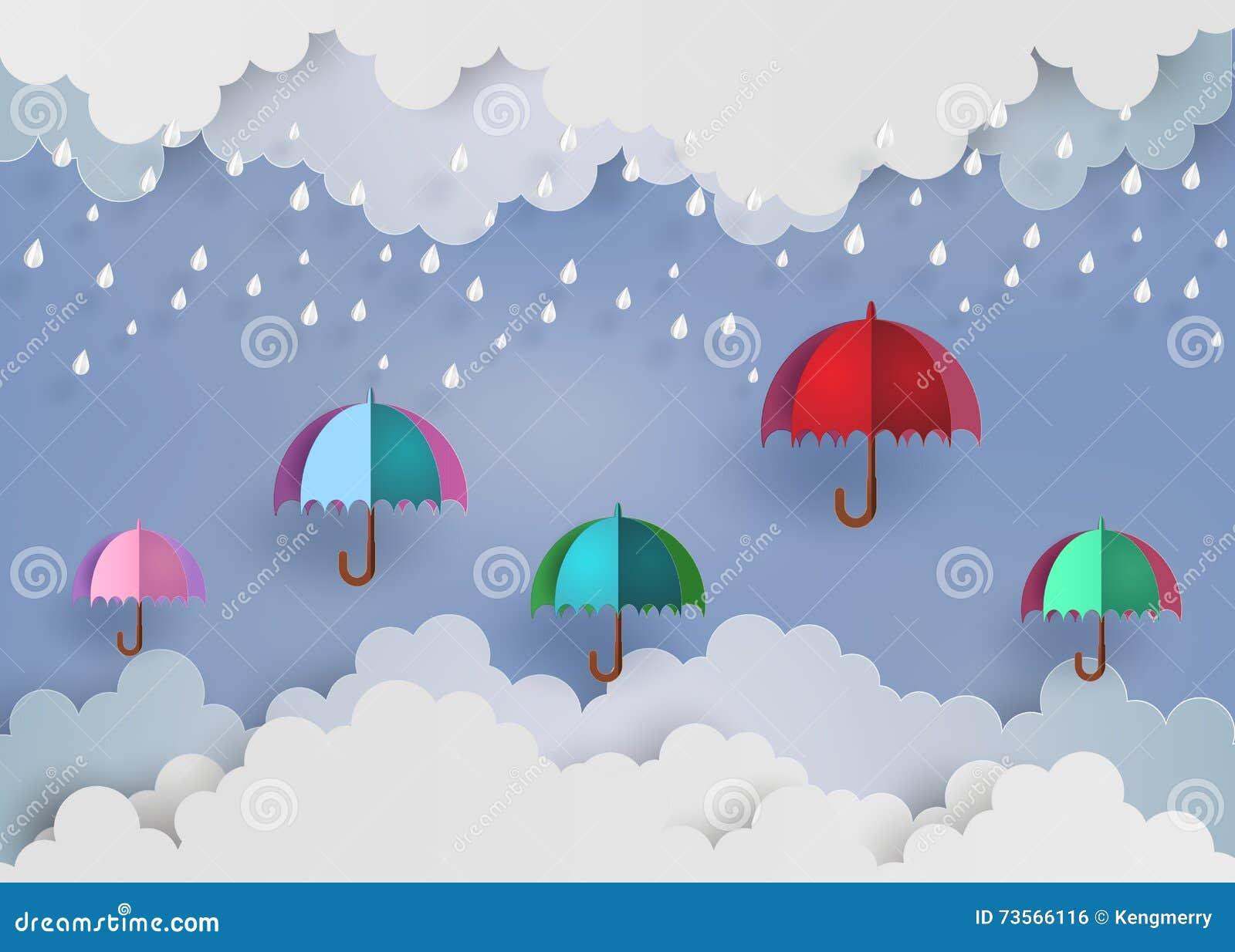 Красочный зонтик в воздухе с дождем