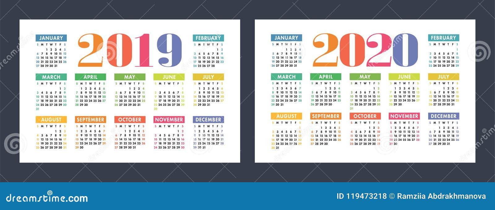 Красочный календарь установил 2019, 2020 Яркий, потеха, милая