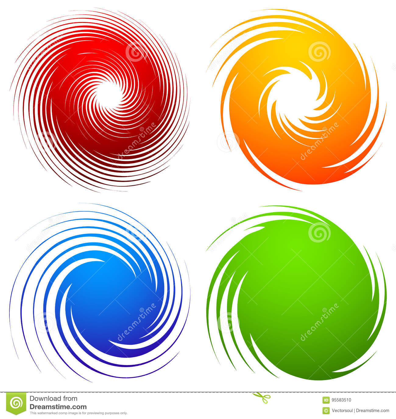 Красочный комплект спирали Абстрактная свирль, элементы дизайна twirl с