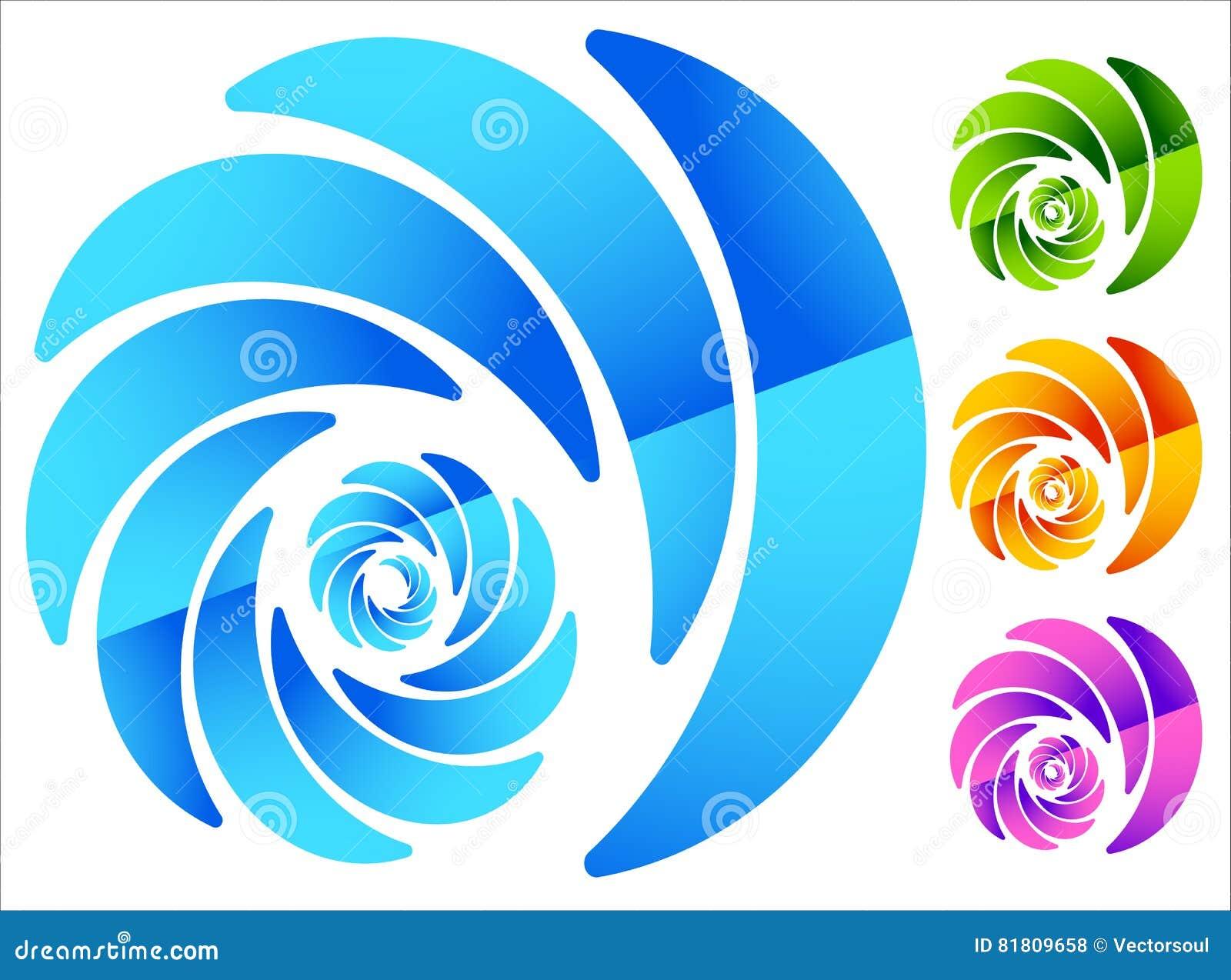Красочный, круговой похожий на спирал элемент в 4 ярких цветах