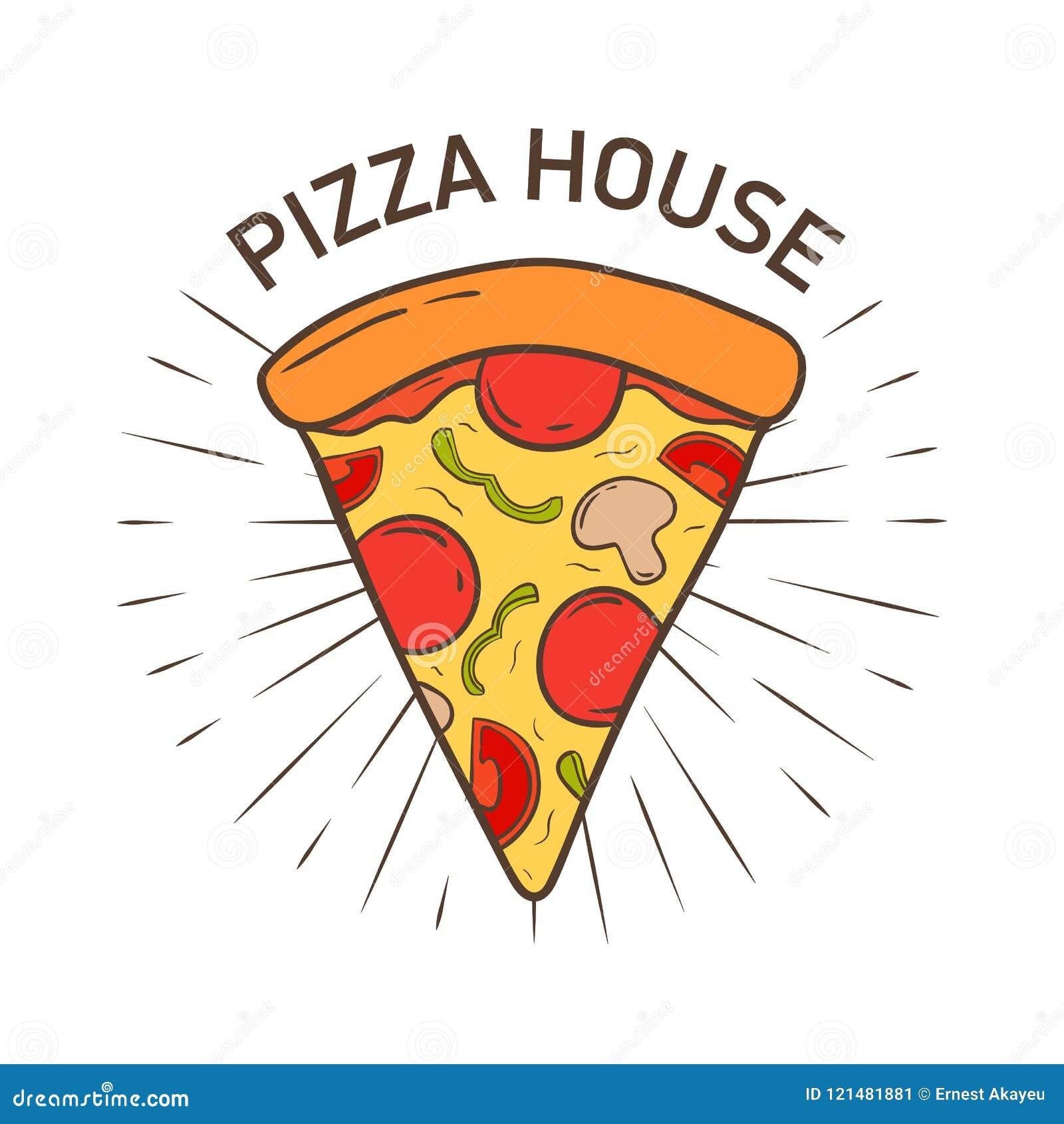 Красочный логотип при очень вкусная рука куска пиццы нарисованная в ретро стиле Вкусная еда итальянской кухни Современное стильно