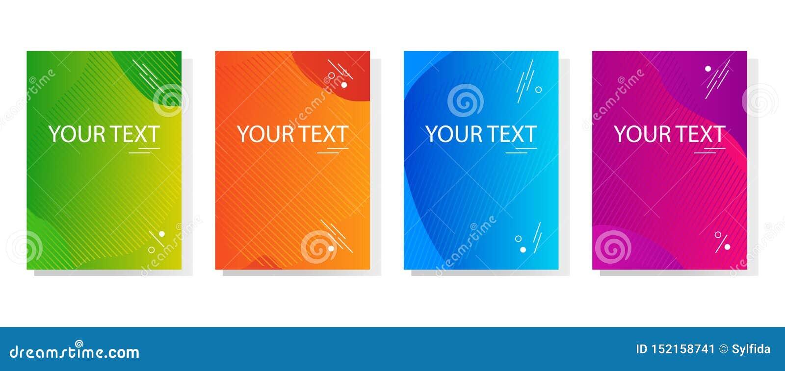 Красочный набор знамен конспекта динамических современных ярких, дизайн крышки шаблона Покрашенный градиент r