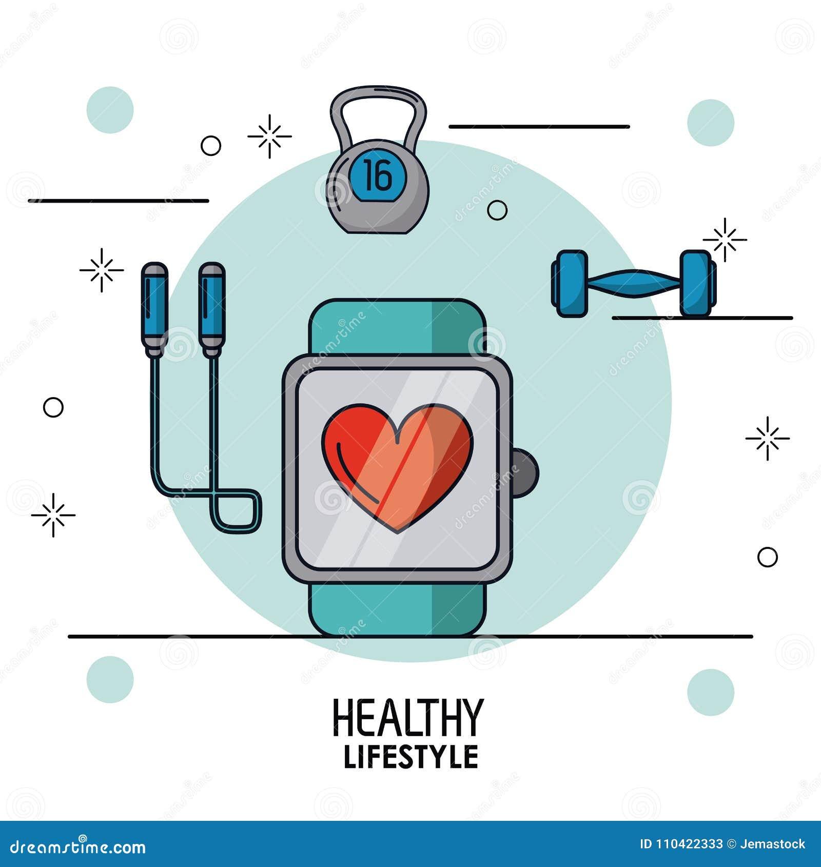 Красочный плакат здорового образа жизни с контролем пульсирования часов в крупном плане и веревочки гантели и скачки на верхней ч