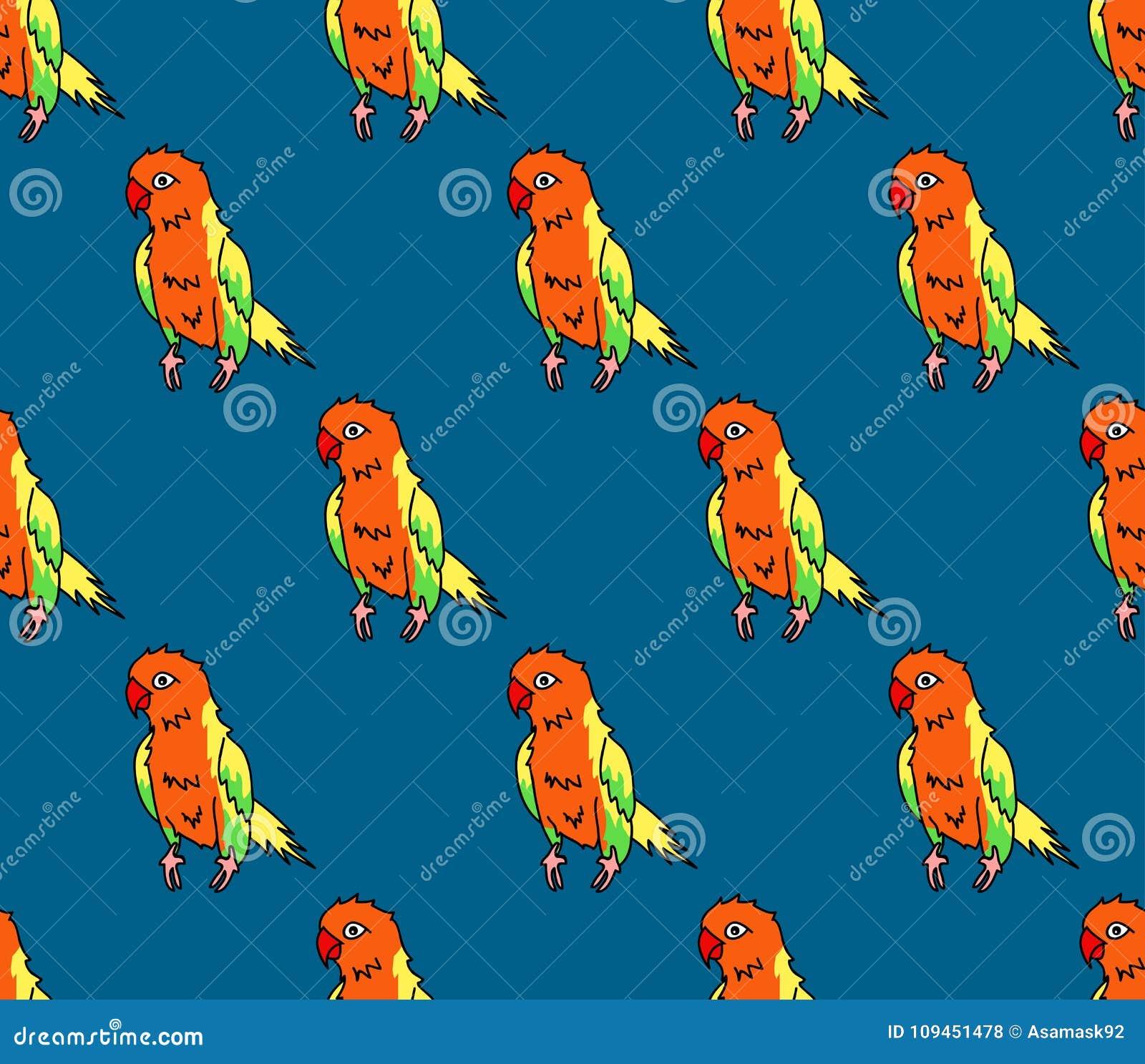 Красочный попугай на предпосылке сини индиго также вектор иллюстрации притяжки corel