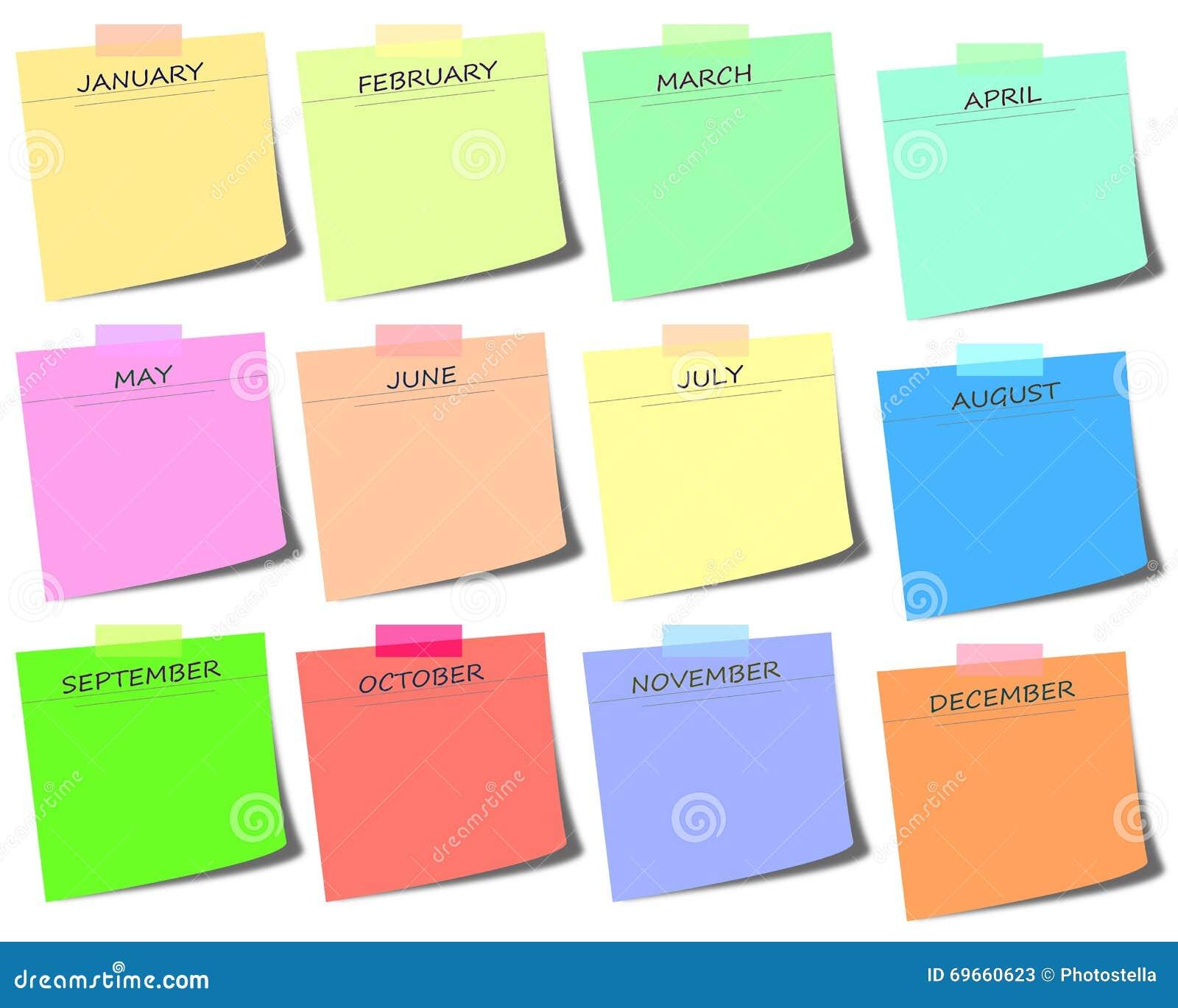 красочный столб оно с месяцами - calendar иллюстрация значка