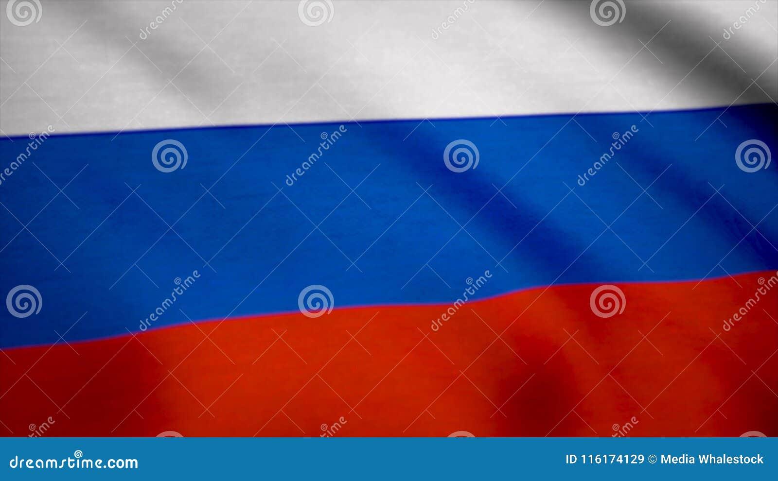 Красочный флаг России развевая в ветре Флаг предпосылки России