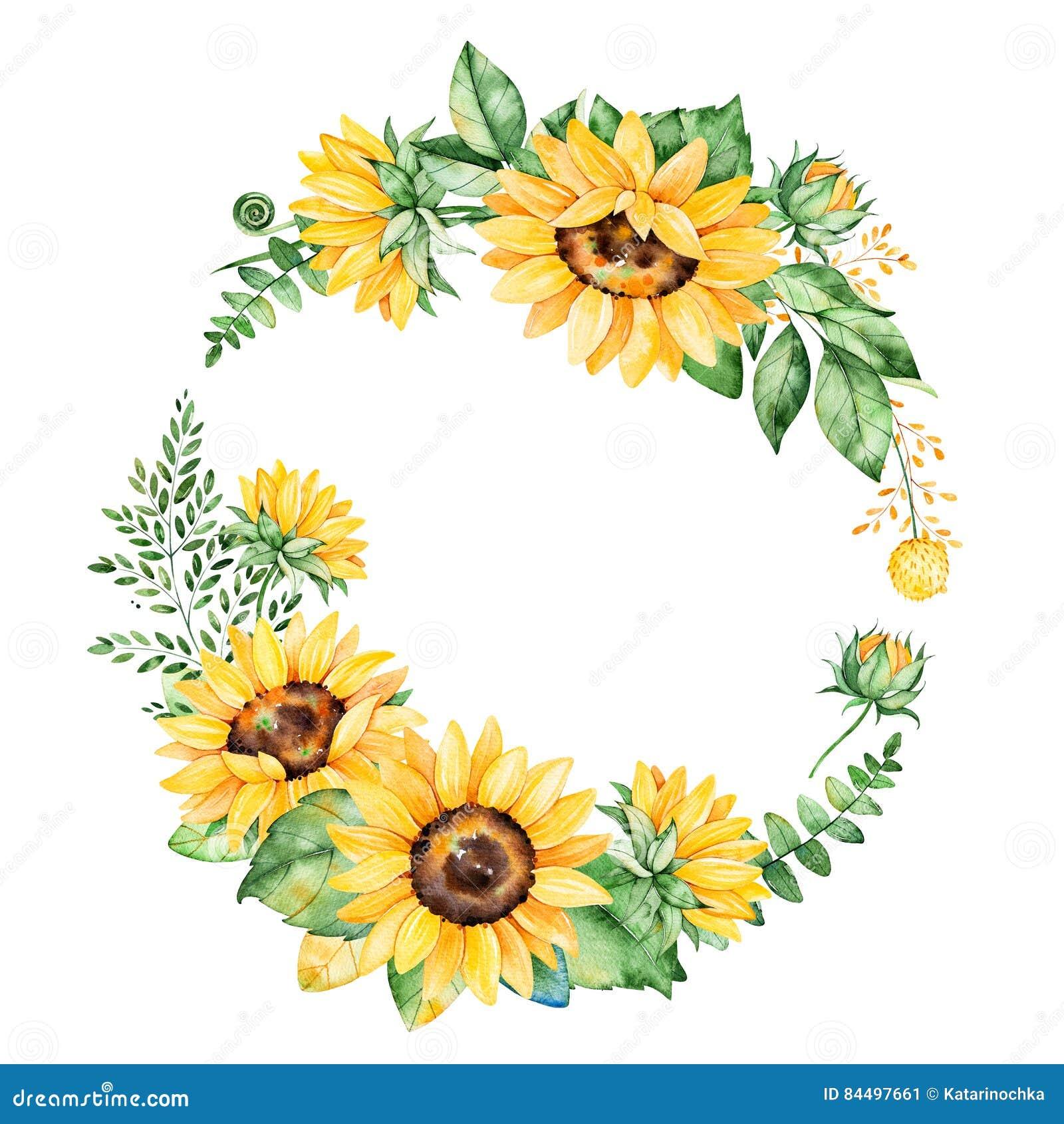 Красочный флористический венок с солнцецветами, листьями, листвой, ветвями, листьями папоротника и местом для вашего текста