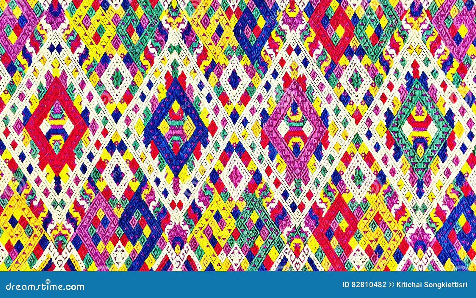 Красочный шелк Лаоса handcraft консервация поверхности половика стиля peruvian старым сорванная годом сбора винограда сделанная о