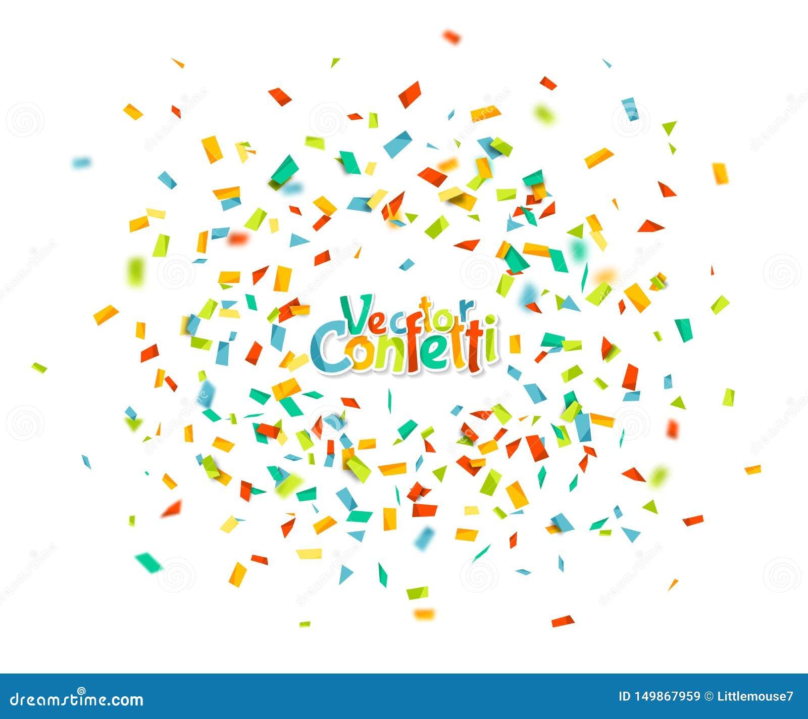Красочный confetti падая случайно Абстрактная предпосылка с частицами взрыва Иллюстрация для поздравительной открытки, масленица