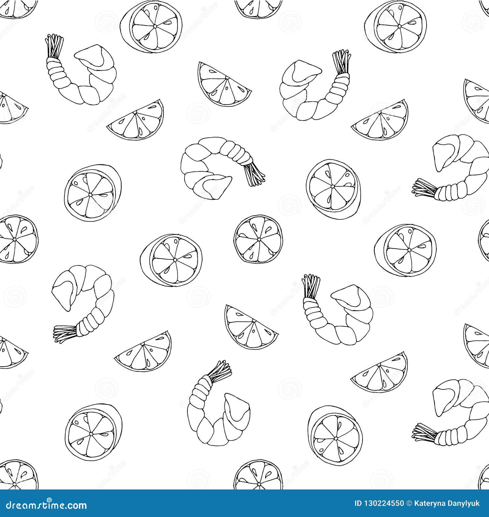 Креветка морепродуктов, картина эскиза куска лимона креветки безшовная, объекты изолированные на белизне для сети