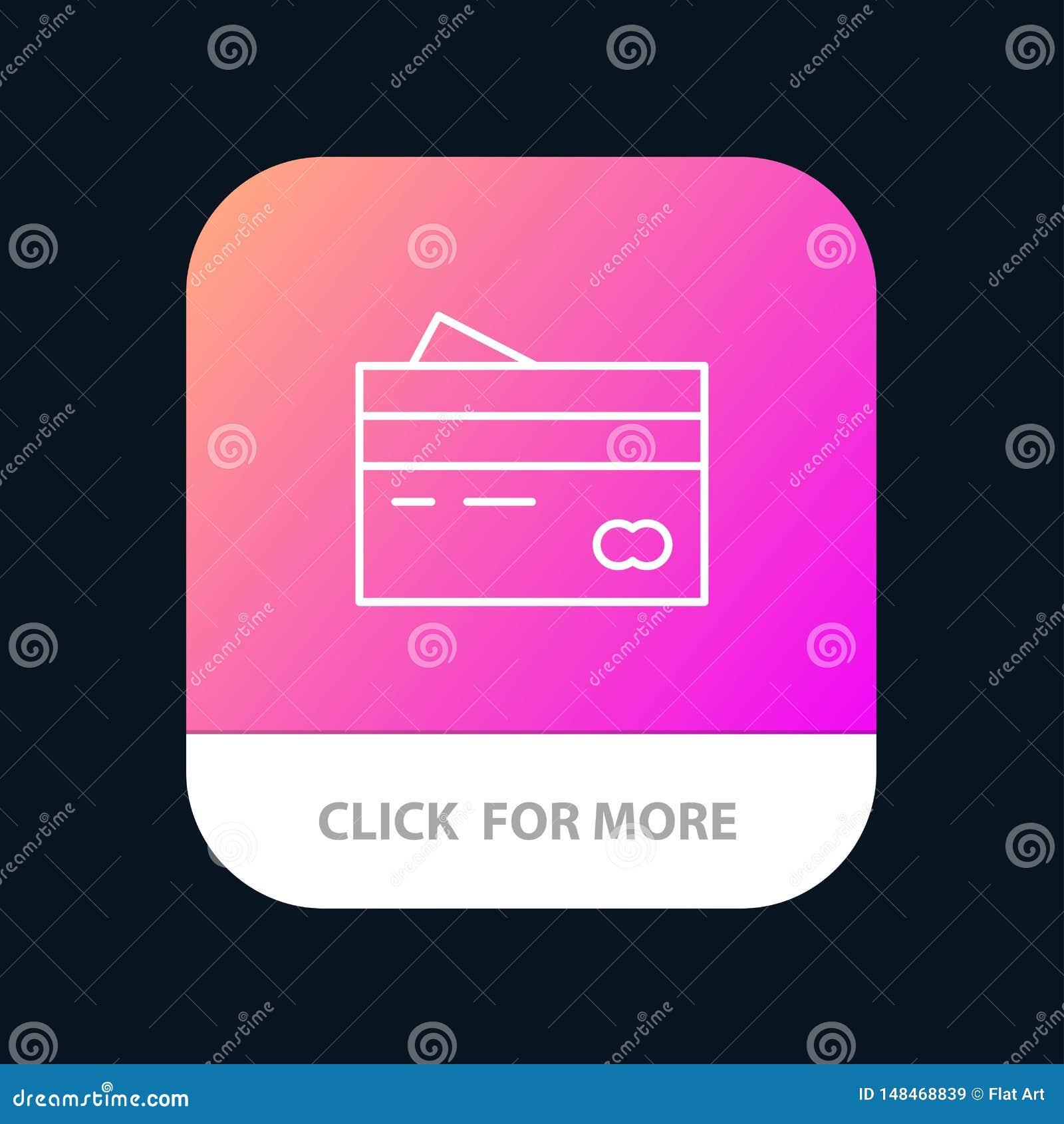 Кредитная карточка, банк, карта, карты, кредит, финансы, деньги, кнопка приложения покупок мобильная Андроид и линия версия IOS