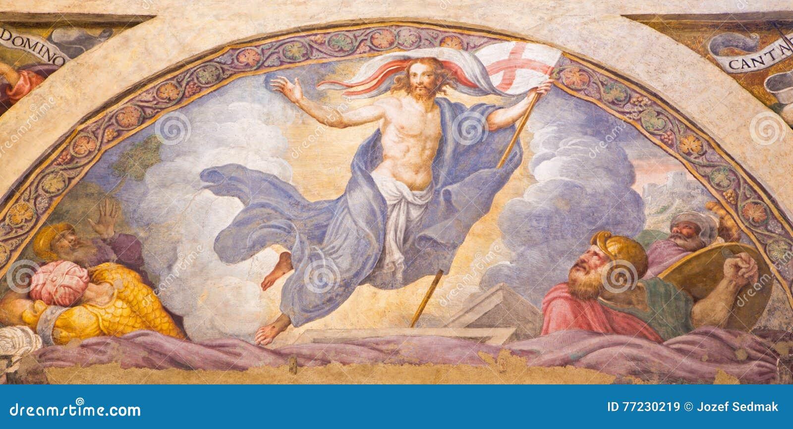 КРЕМОНА, ИТАЛИЯ, 2016: Фреска воскресения Иисуса в Chiesa di Санте Рите Giulio Campi & x28; 1547& x29;