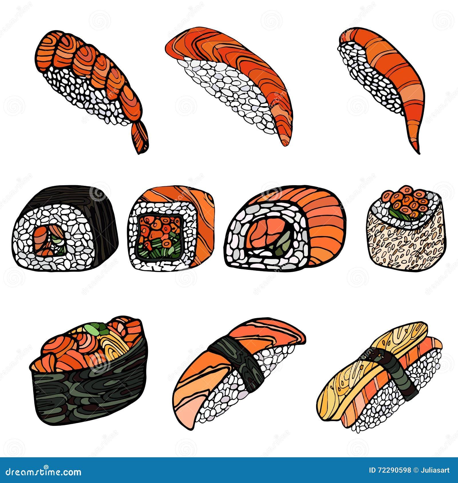 Download крены установили суши Японская еда Нарисованная рукой иллюстрация вектора Иллюстрация вектора - иллюстрации насчитывающей нарисовано, здоровье: 72290598