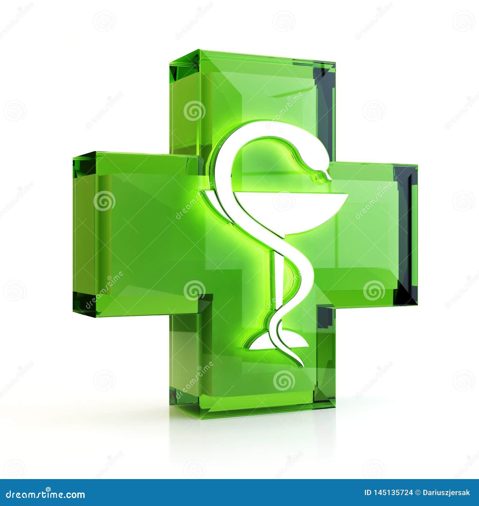 Крест и змейка, иллюстрация 3D