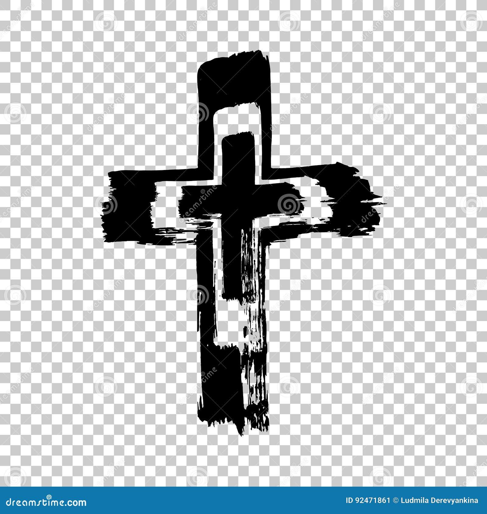 Крест нарисованный рукой Крест Grunge Крест сделанный с ходом щетки