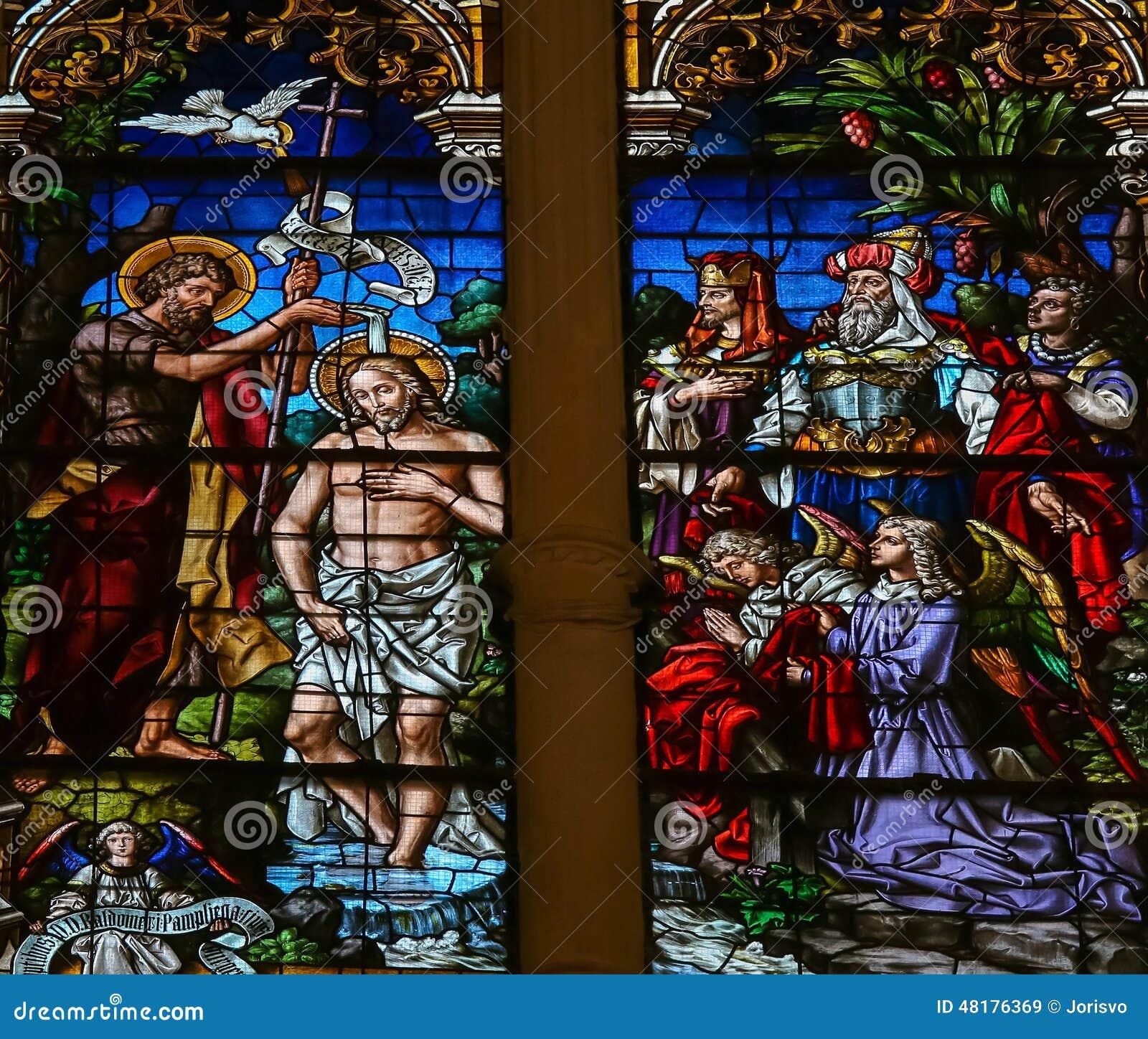 Крещение Иисуса St. John - цветным стеклом в Бургосе Cathedr