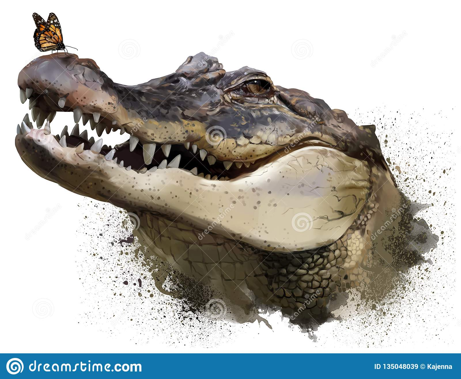 Крокодил и бабочка монарха самана коррекций высокая картины photoshop качества развертки акварель очень