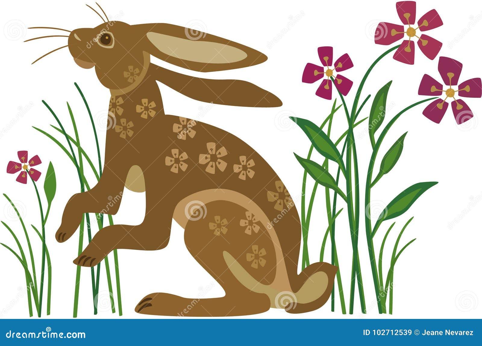 Кролик с картиной цветка