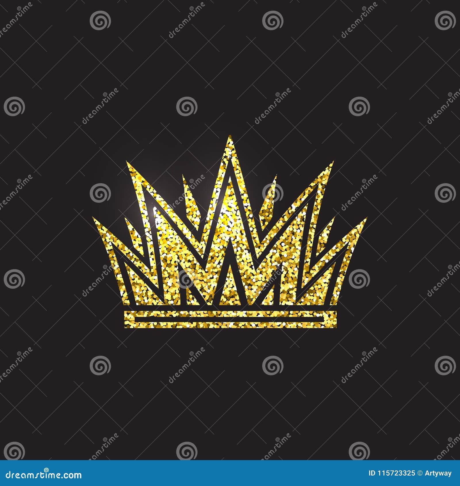 Крона ферзя, королевский головной убор золота Аксессуар короля золотой Изолированные иллюстрации вектора Символ класса элиты на ч