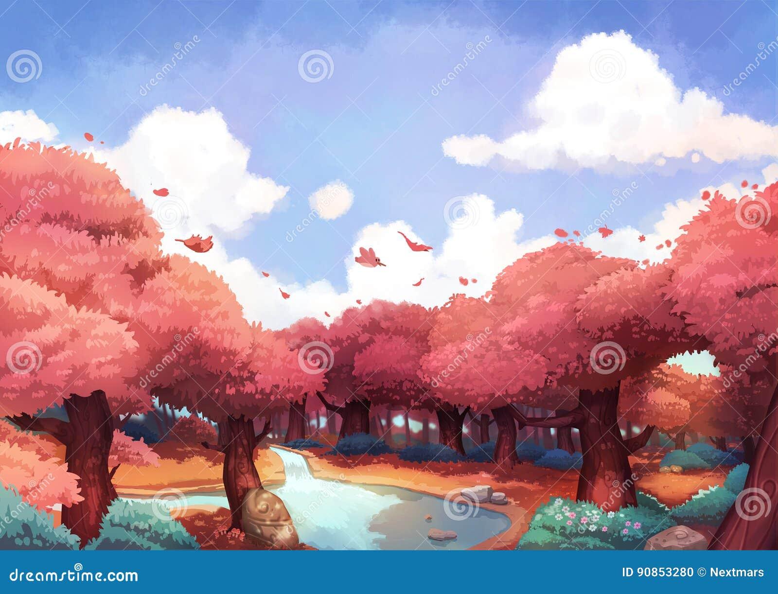 Крошечное летание птицы над красивым лесом в утре