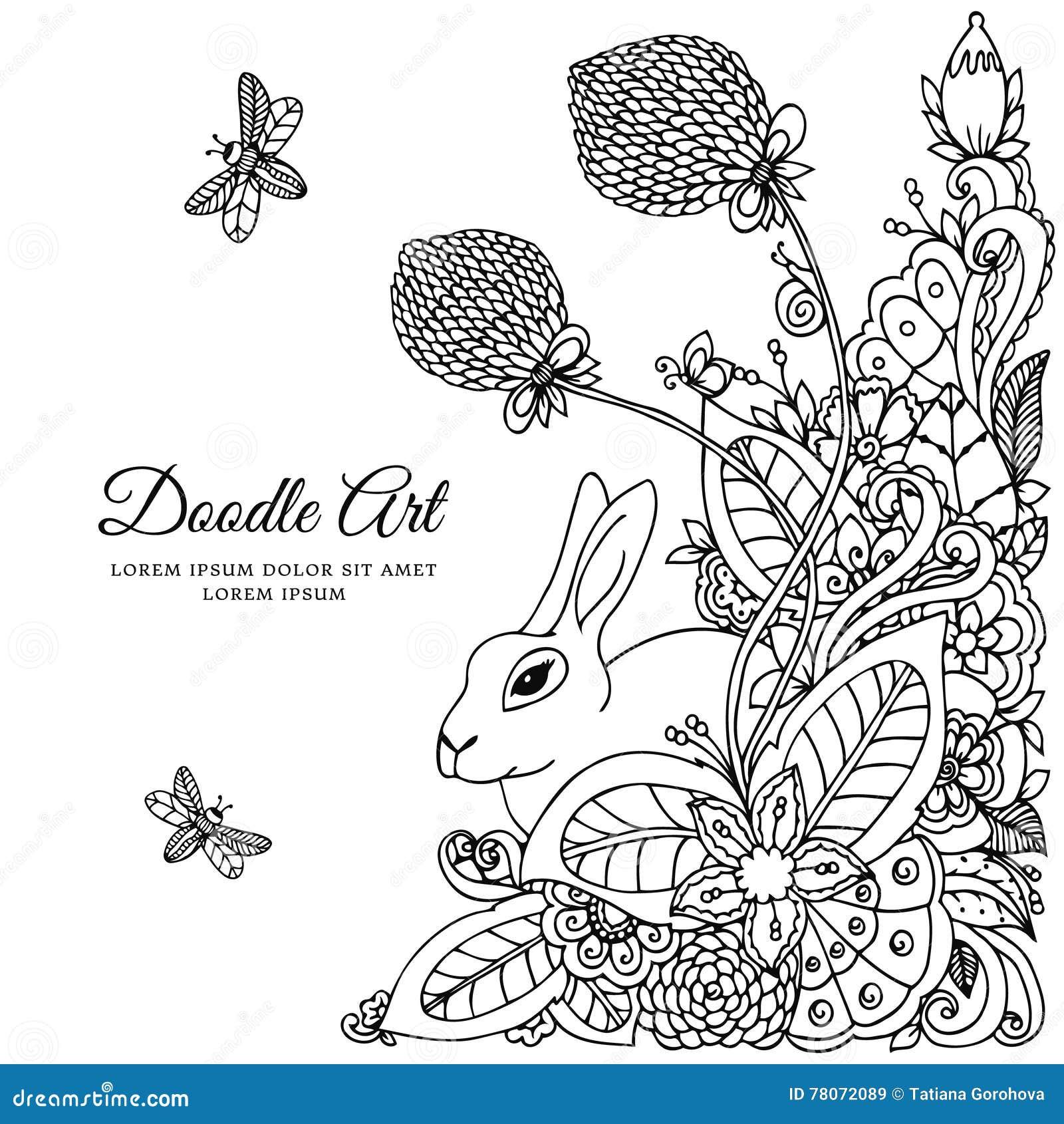 Кролик иллюстрации вектора в рамке цветка Чертеж Doodle ...