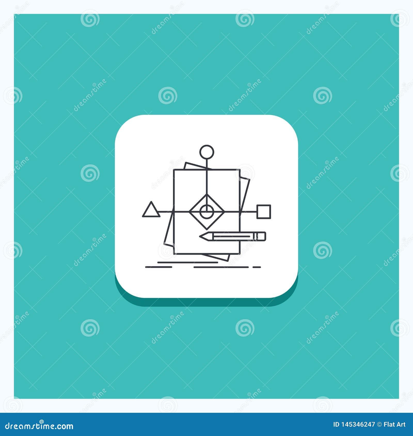 Круглая кнопка для алгоритма, дела, предсказывая, картины, линии предпосылки плана бирюзы значка