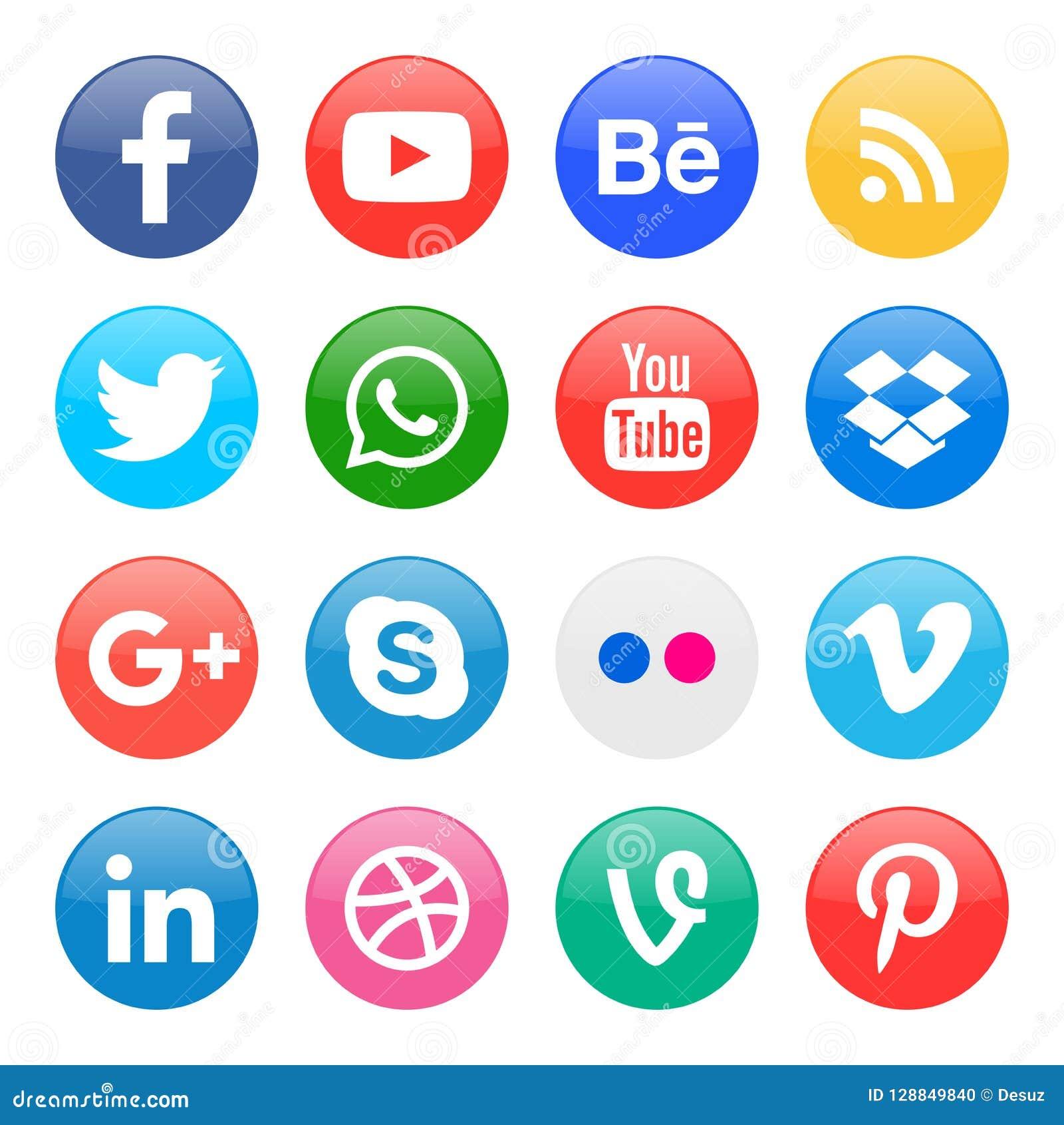 круглые значки для социальных средств массовой информации