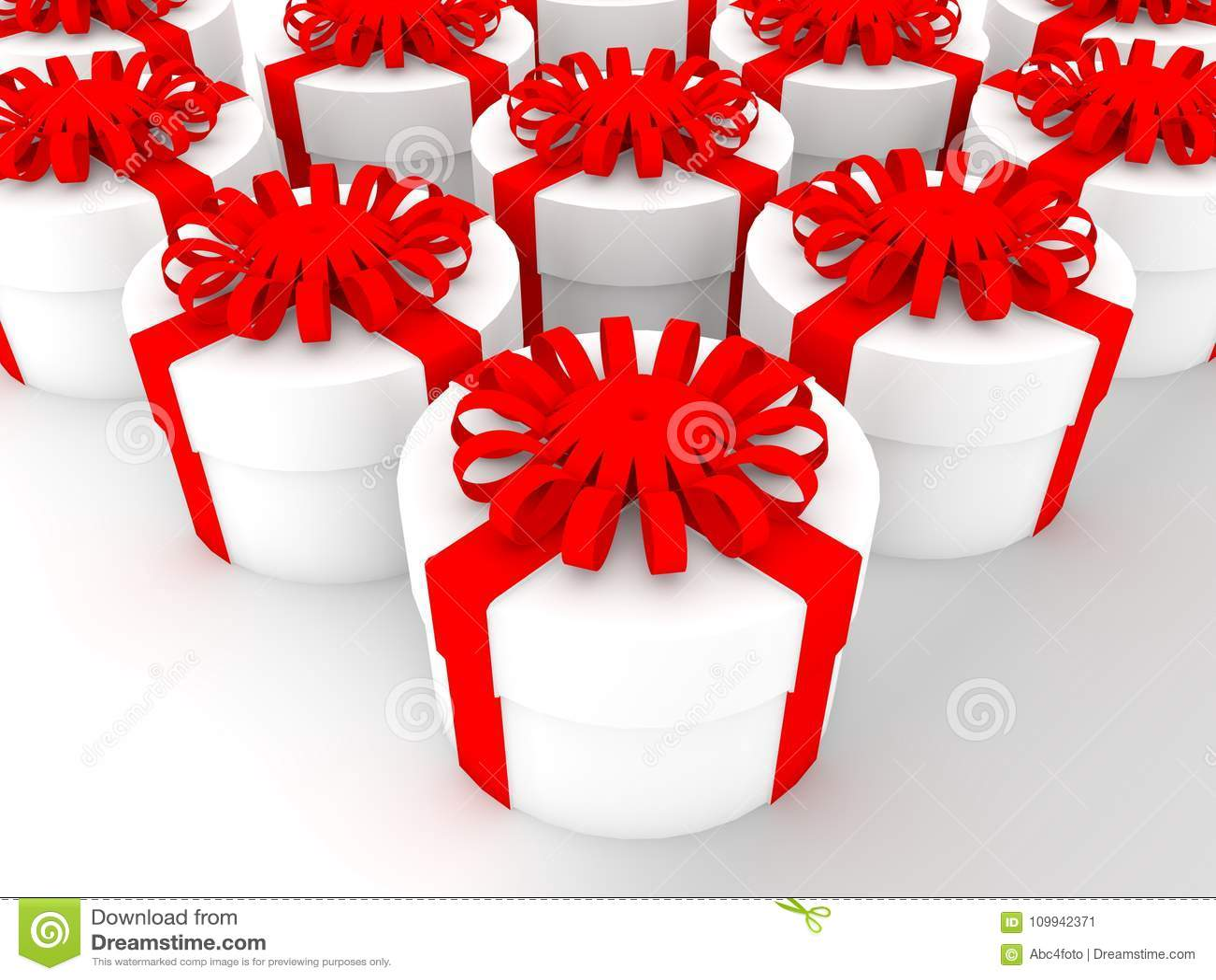 Круглые подарочные коробки в белом цвете иллюстрация 3d