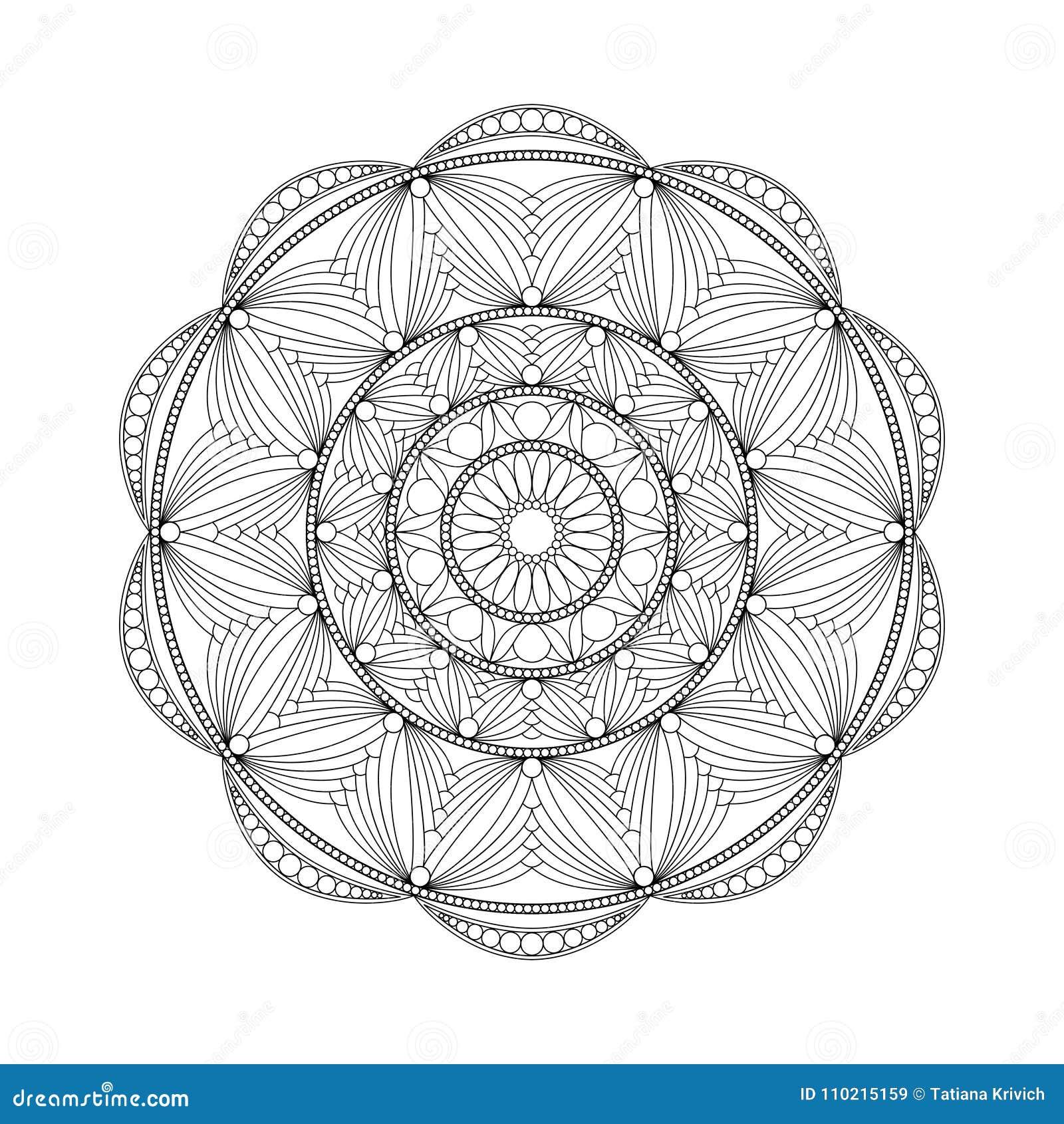 круглый абстрактный орнамент книжка раскраски для взрослых