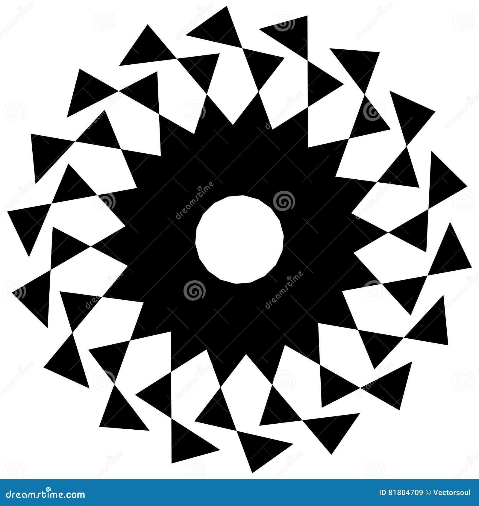 Круговая геометрическая форма Абстрактный monochrome спиральный элемент