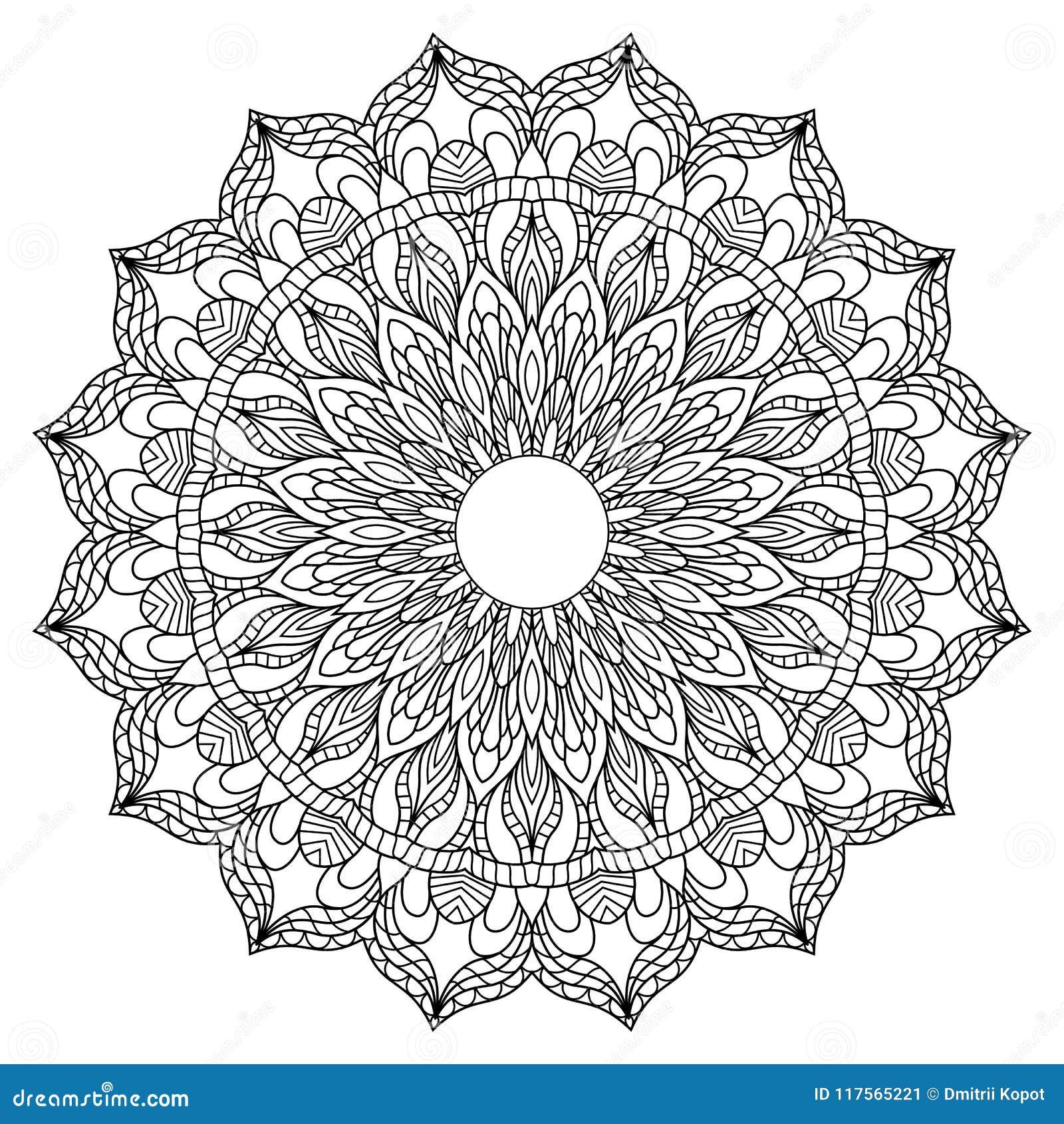 Круговая картина в форме мандалы для хны, Mehndi, татуировки, украшения Декоративный орнамент в этническом восточном стиле