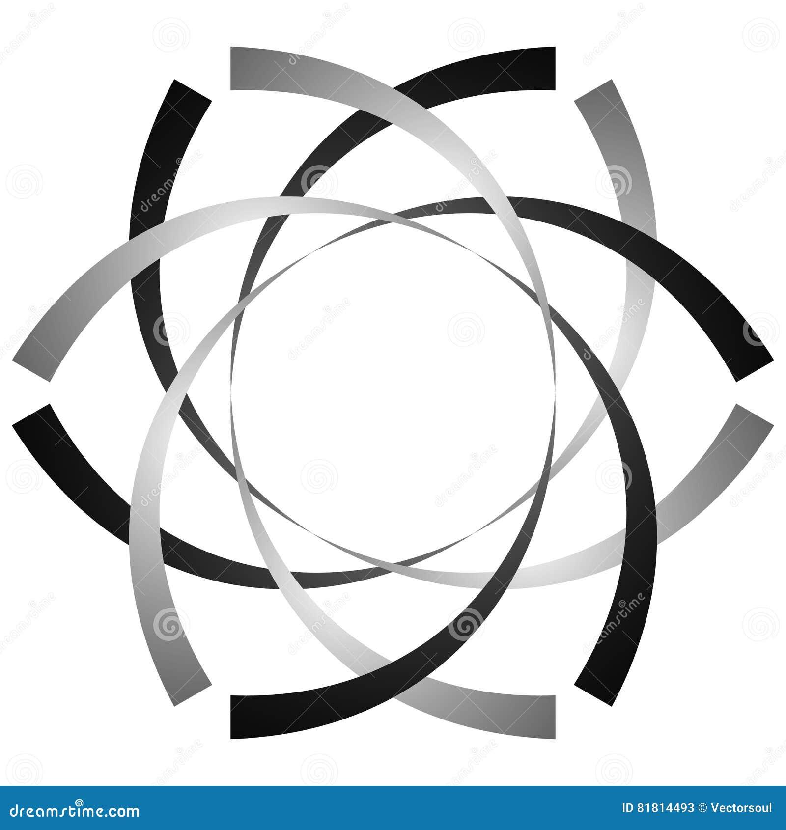Круговая, цикловая спираль, элемент вортекса Shap серой шкалы вращая