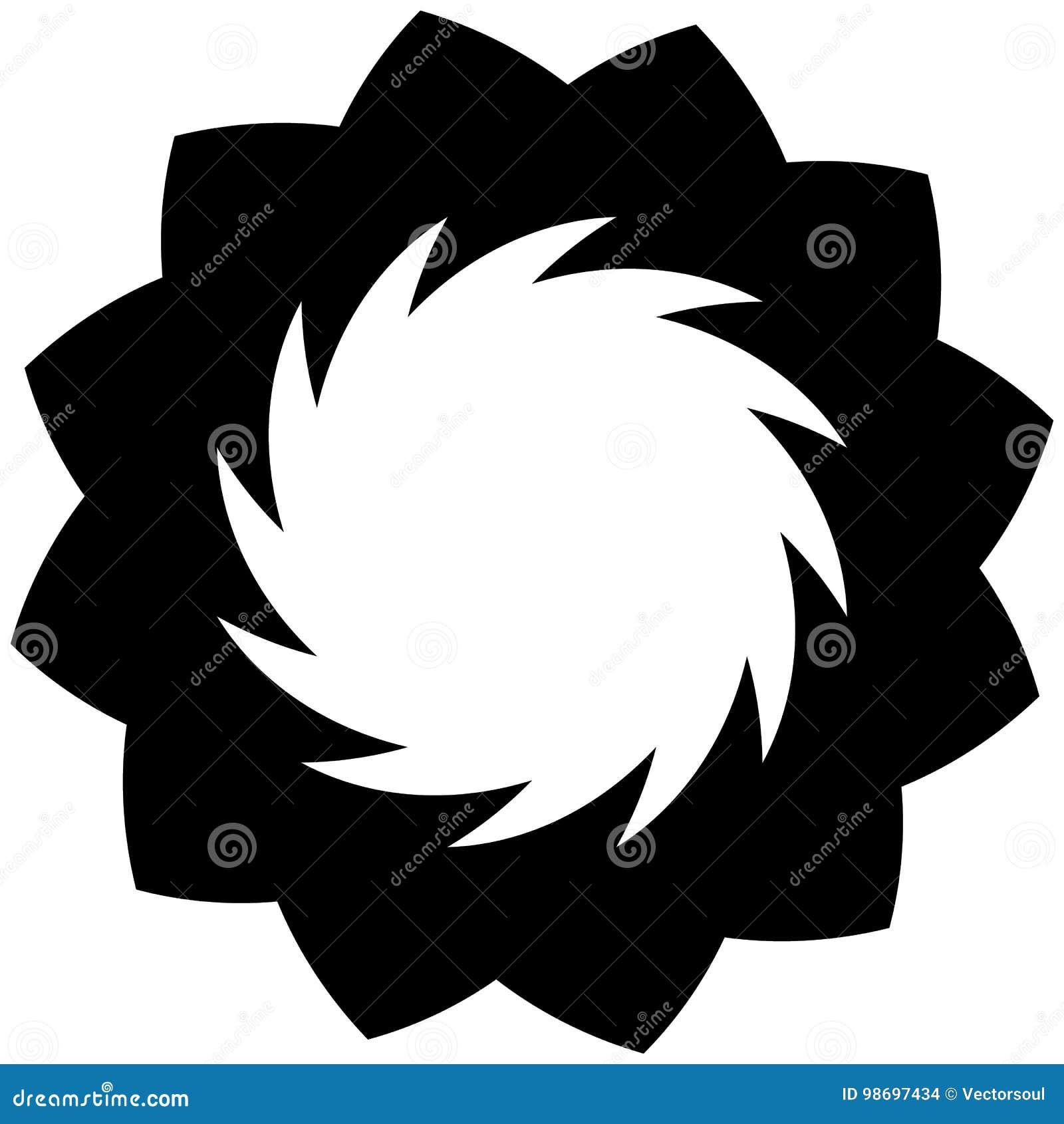 Круговой геометрический мотив Абстрактный элемент op-искусства серой шкалы