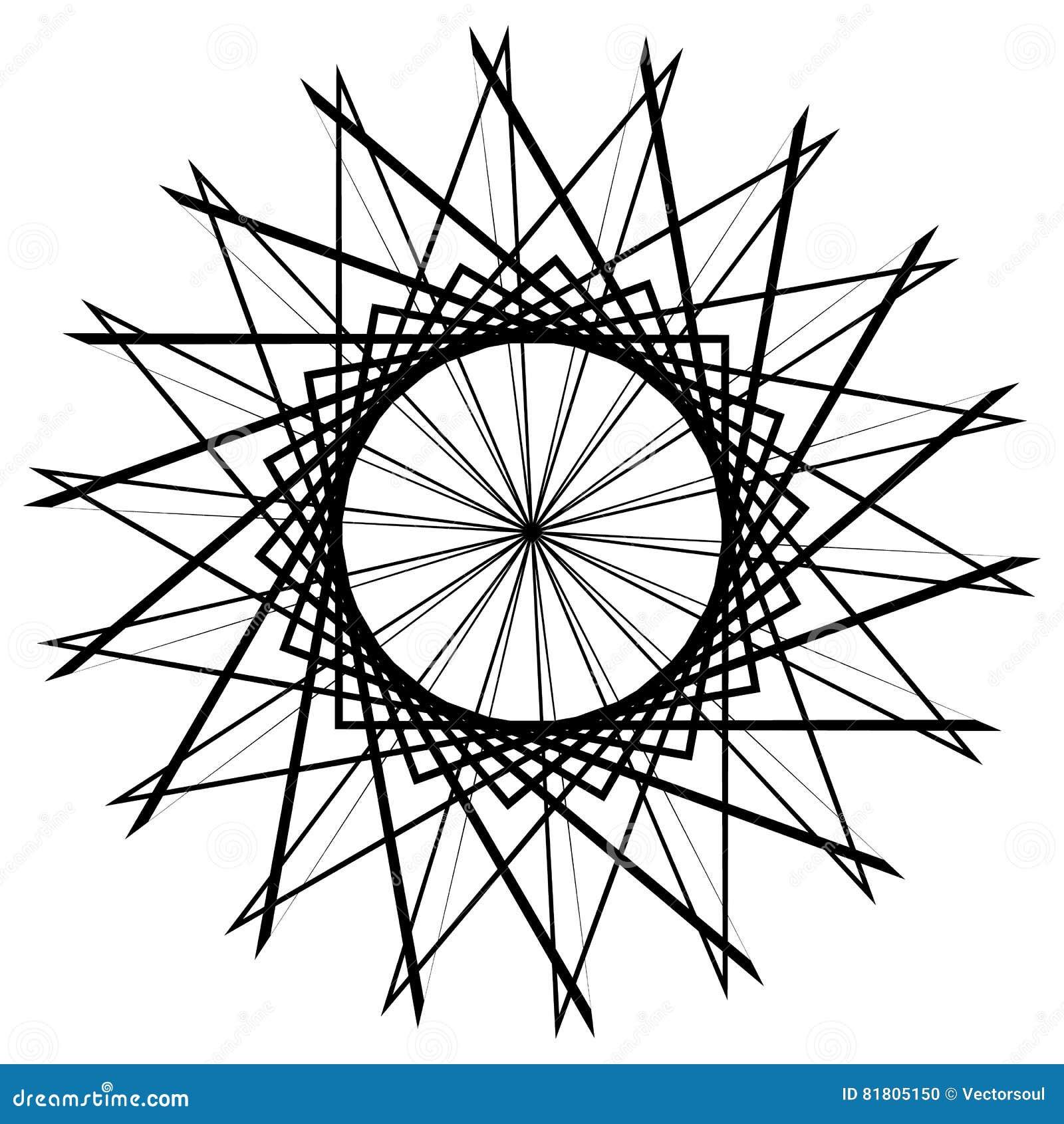 Круговой геометрический элемент, абстрактный мотив, мандала изолированная дальше