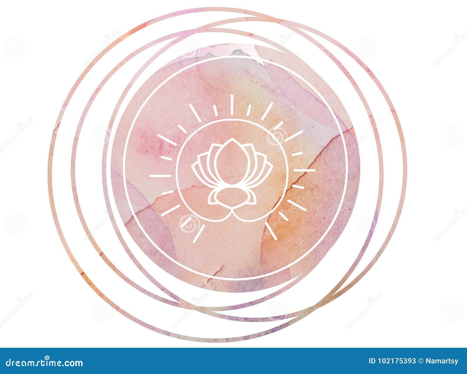 Круговой лотос символа раздумья мандалы акварели