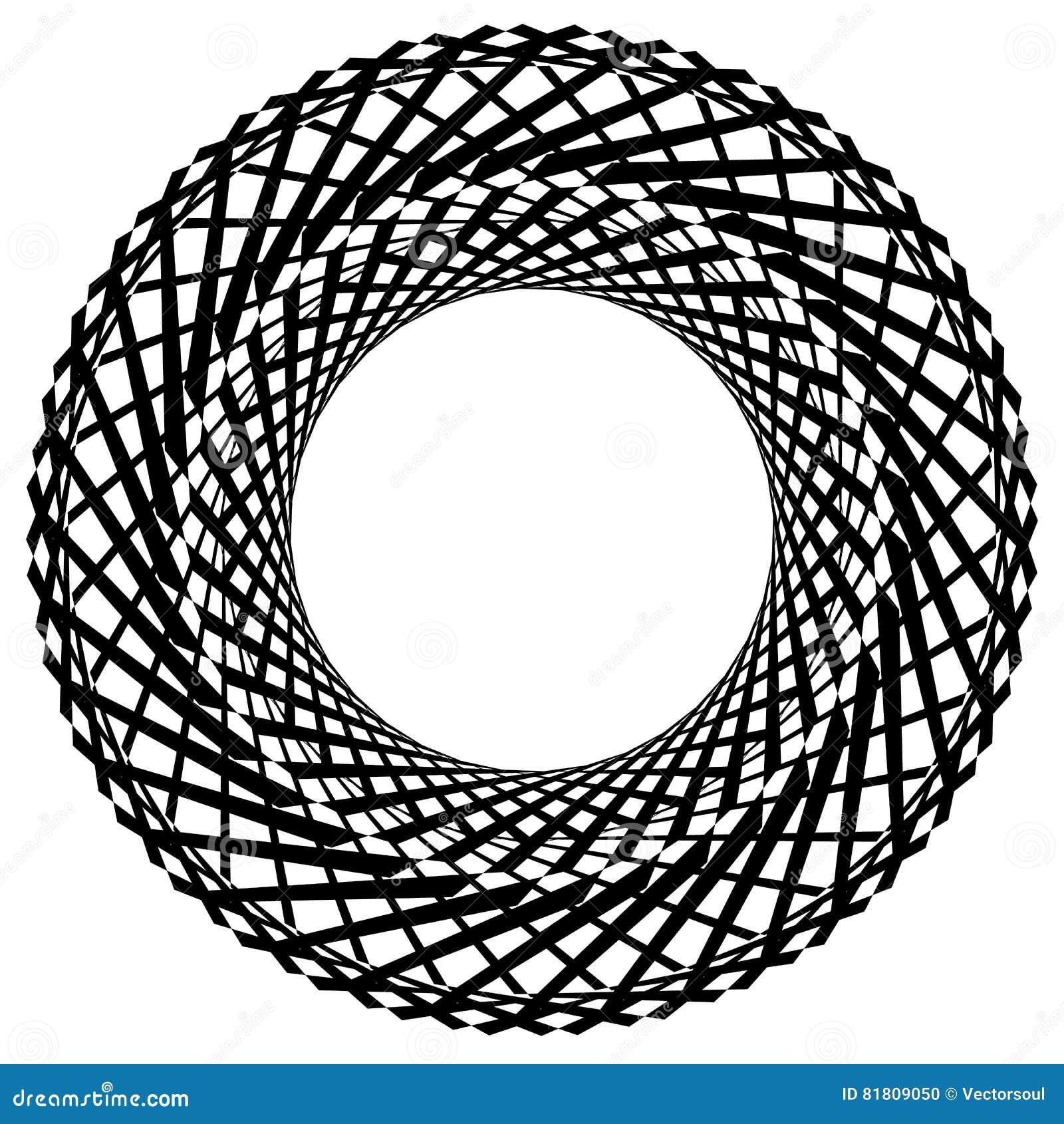 Круговой радиальный геометрический элемент изолированный на белой предпосылке