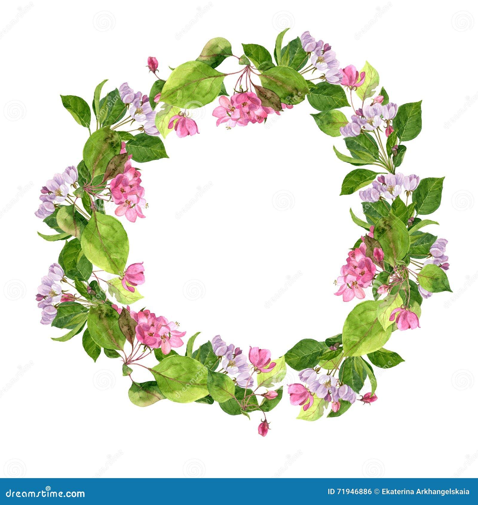 Круглая флористическая рамка с розовыми цветками яблони