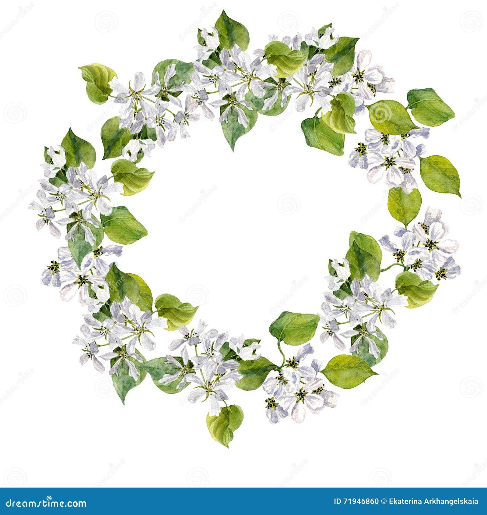 Круглая флористическая рамка с цветками яблони