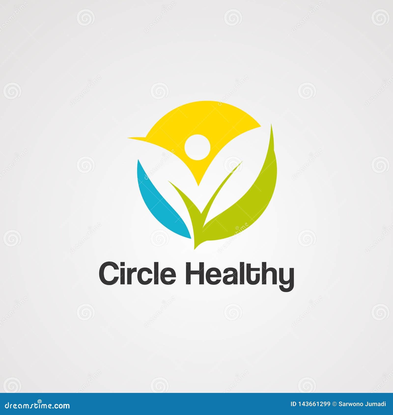 Круг здоровый с вектором, значком, элементом, и шаблоном логотипа лист человеческими для компании
