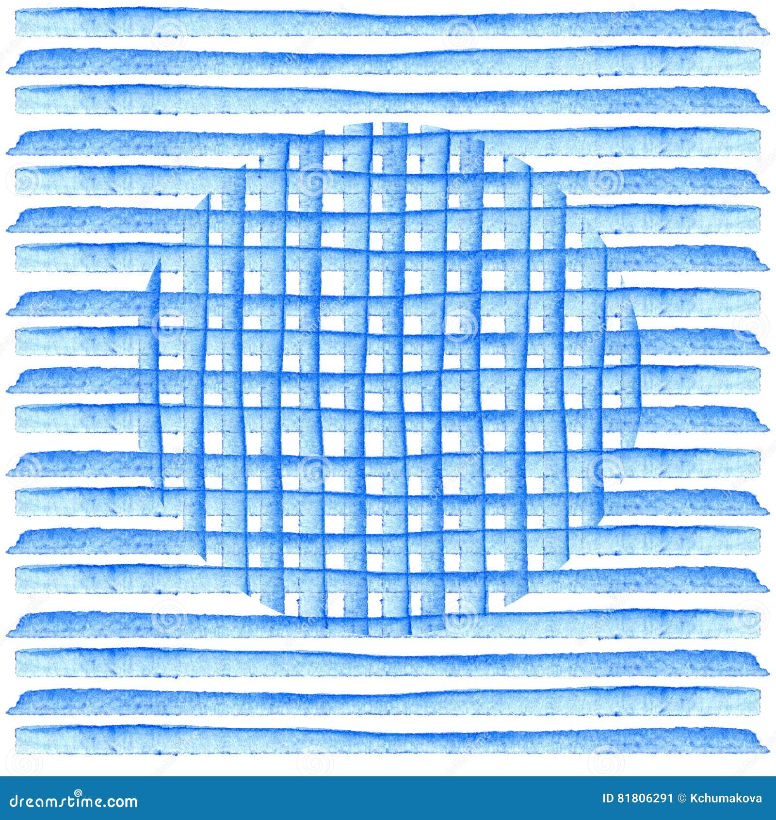 Круг на голубых нашивках Картина акварели предпосылки Абстрактной прокладки покрашенные рукой ретро тип Дизайн элемента для