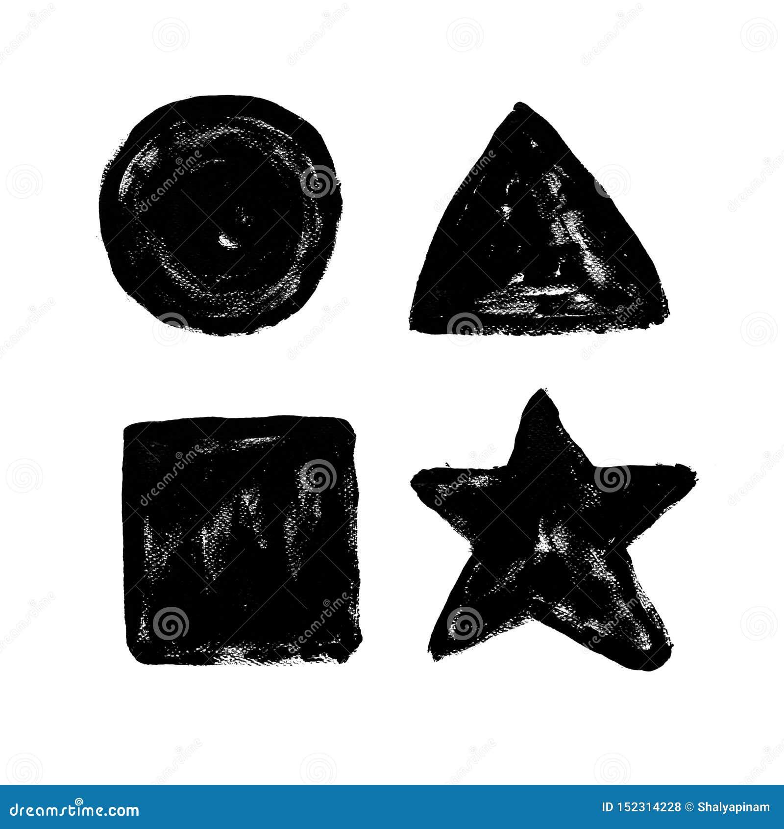 Круг, треугольник, прямоугольник, звезда Столб абстрактной руки вычерченный внутренний
