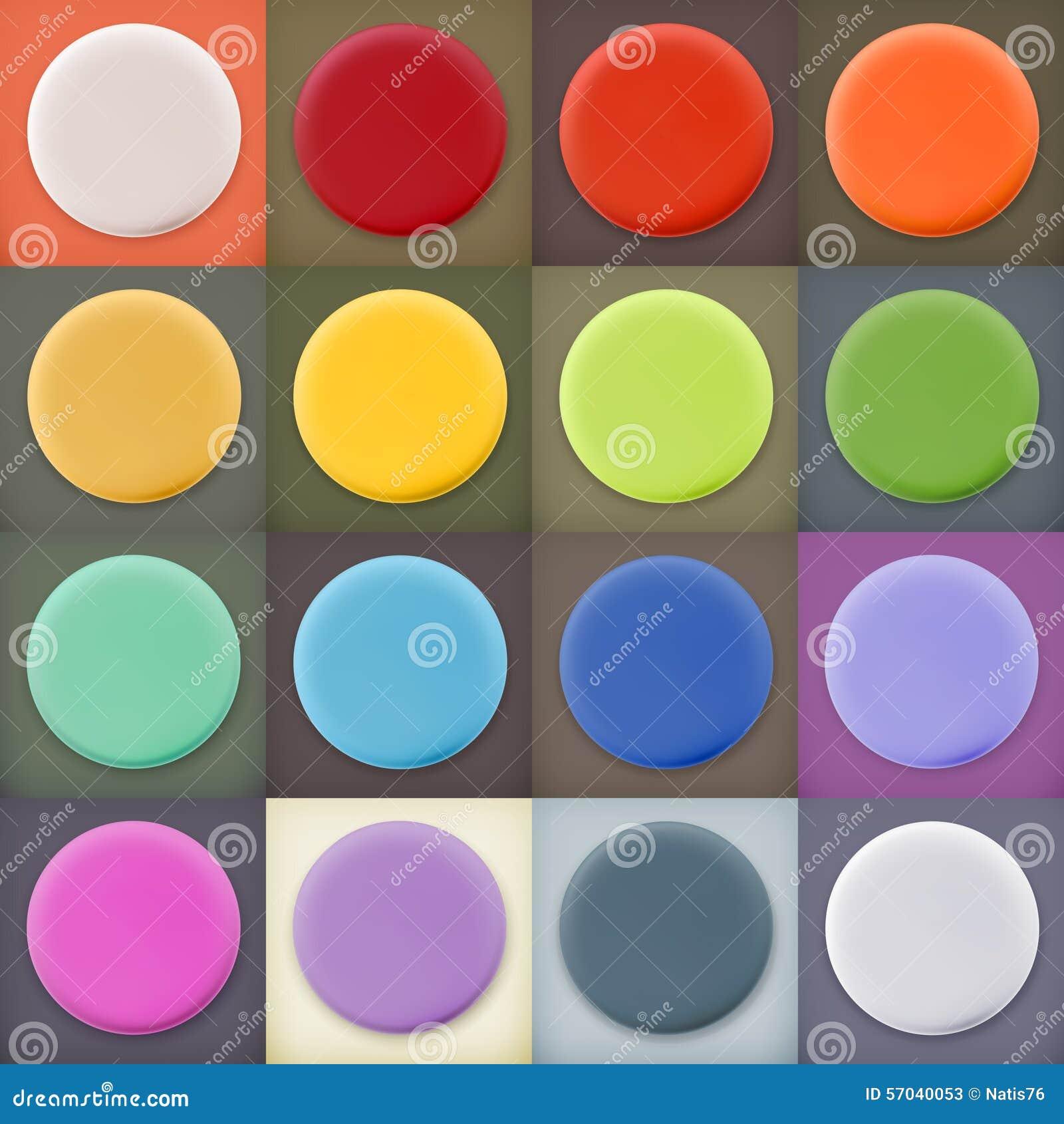 Круглые пустые значки и кнопки сети пробелов