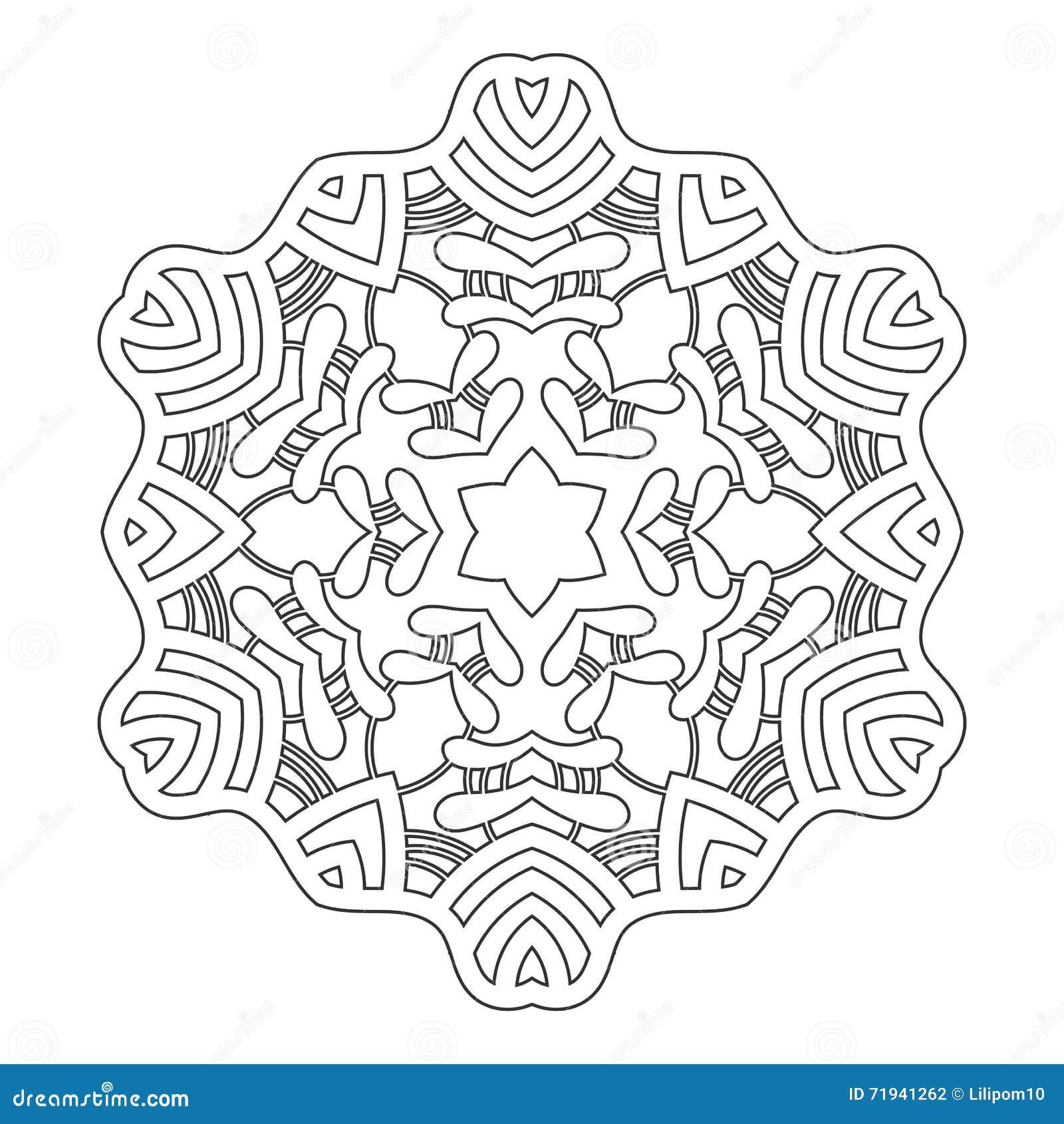 Круглый орнамент для книжка-раскрасок Черная, белая картина Шнурок, снежинка