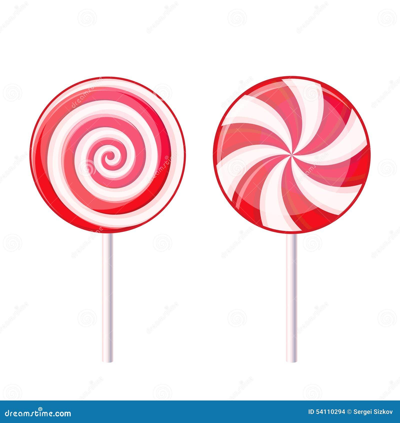 Круглый спиральный леденец на палочке конфеты Красный и белый дальше Иллюстрация штока - изображение: 54110294