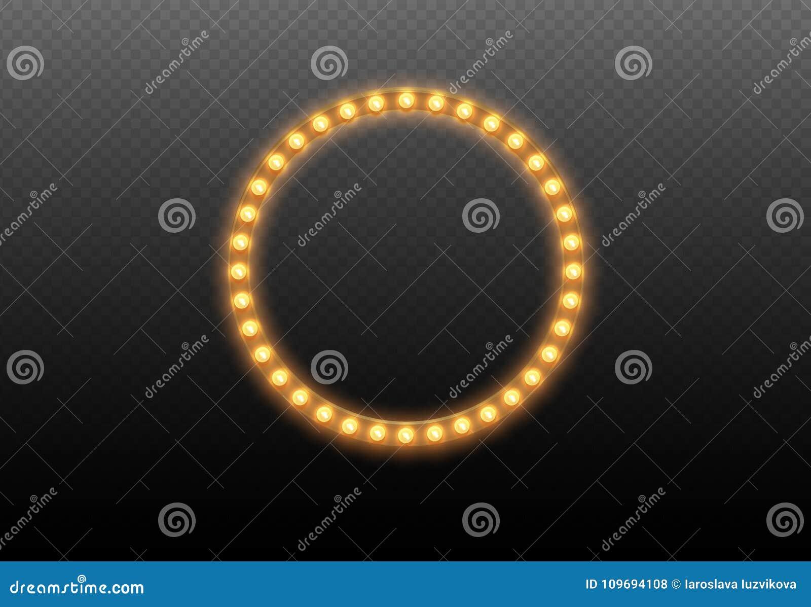 Круг электрической лампочки Круглая рамка светов на прозрачной предпосылке Загоренный вокруг реалистического знамени казино при и